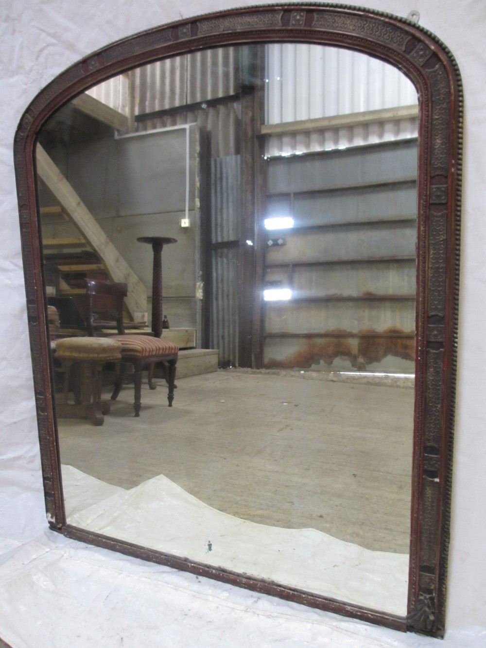Large 19th Century Gesso Moulded Frame Arch Top Overmantle Mirror With Regard To Large Overmantle Mirrors (Image 5 of 15)