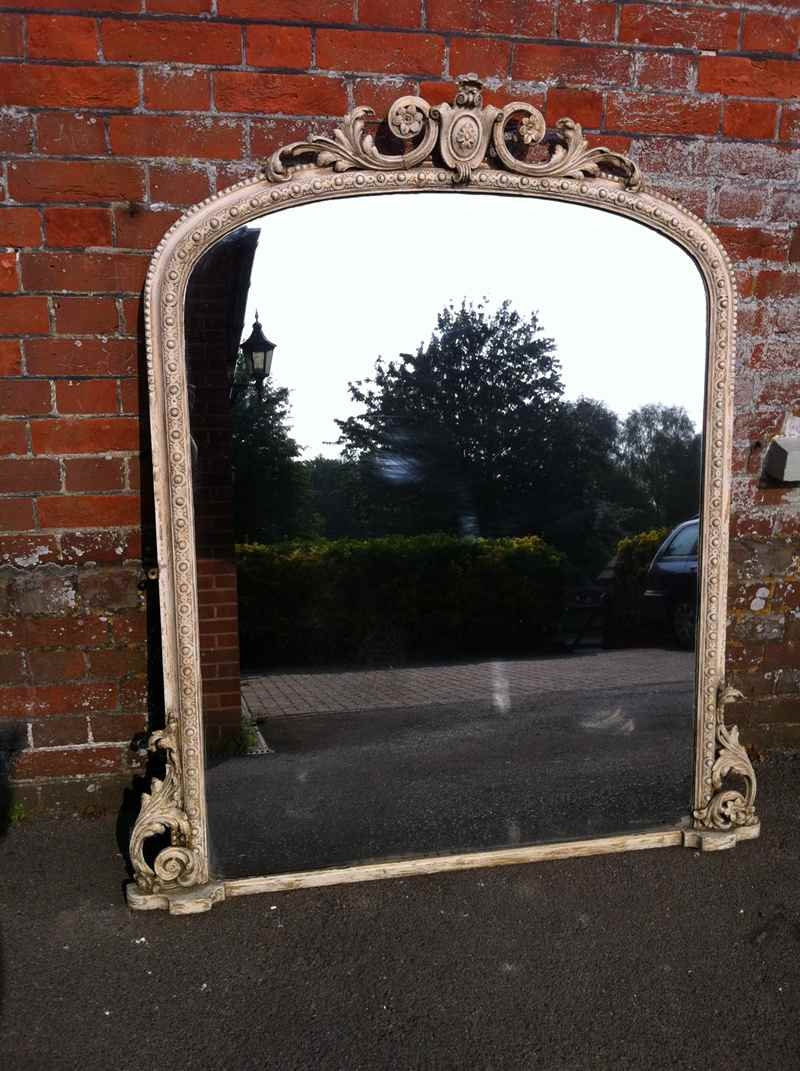 Large 19thcentury Ivory Overmantle Mirror Antique All Our Regarding Large Overmantle Mirrors (Image 6 of 15)
