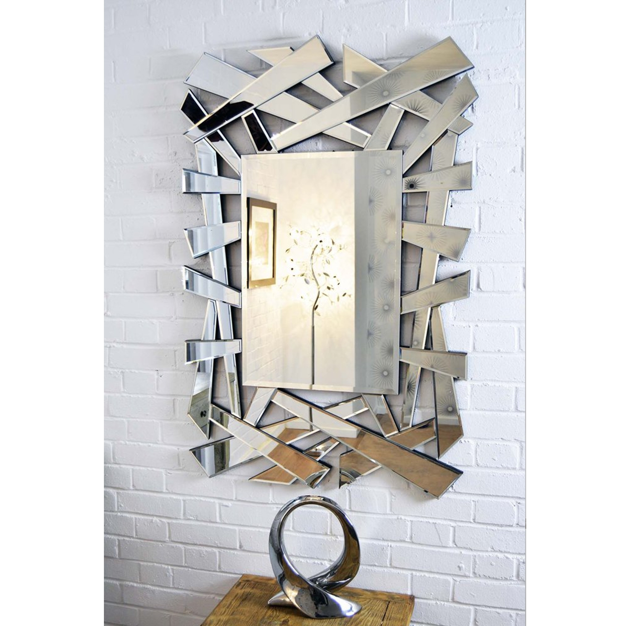 Large Abstract Venetian Mirror Decorative Glass Mirrors With Large Venetian Mirror (Image 3 of 15)