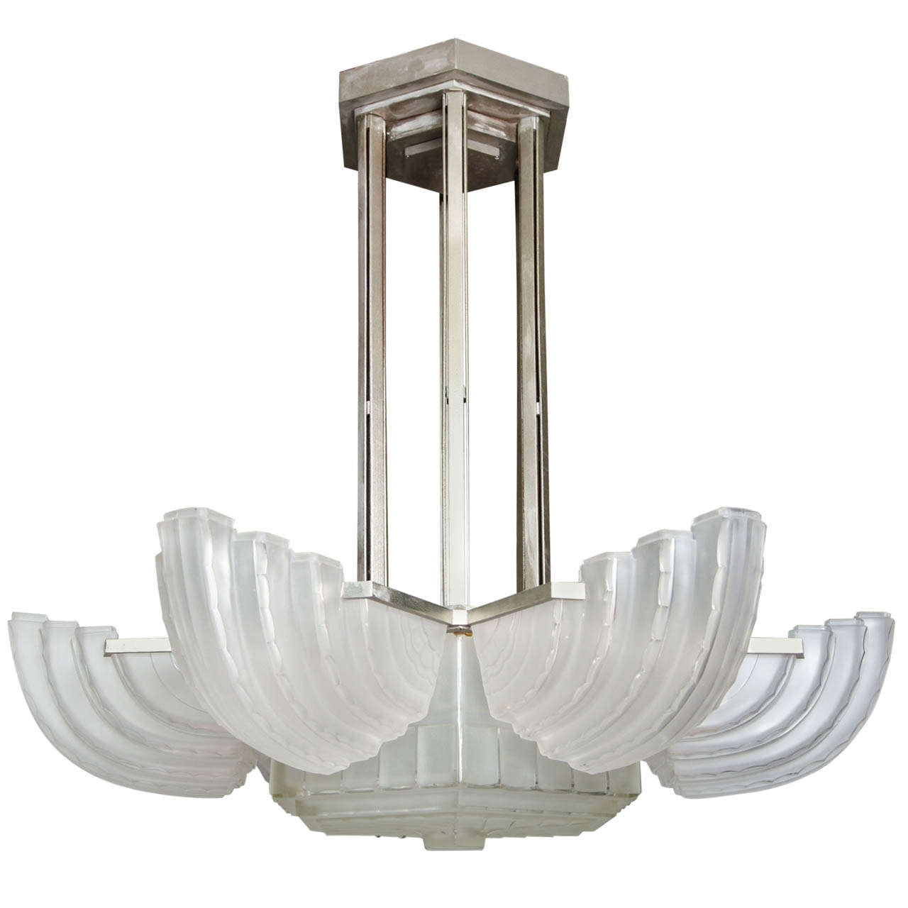 Large And Important Art Deco Chandelier Sabino Paul Stamati Intended For Large Art Deco Chandelier (Image 10 of 15)