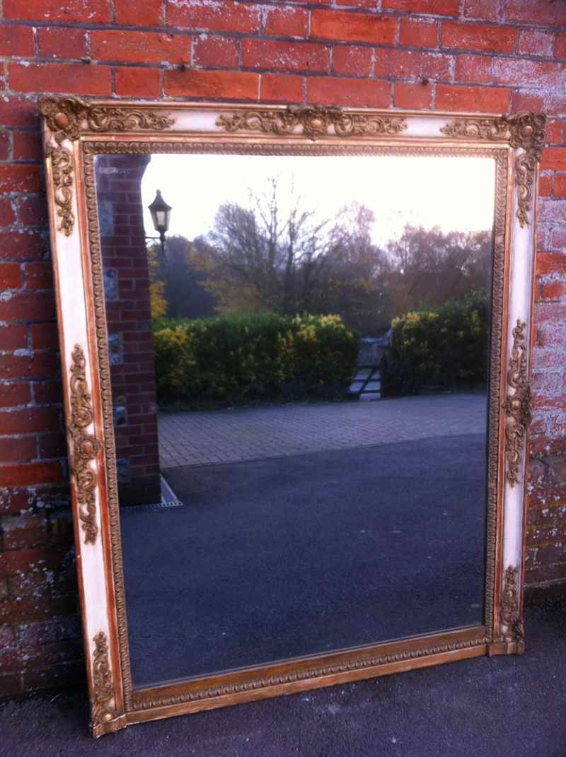 Large Antique Cream French And Gilt Overmantel Mirror Antique With Regard To Gilt Mirrors For Sale (Image 7 of 15)