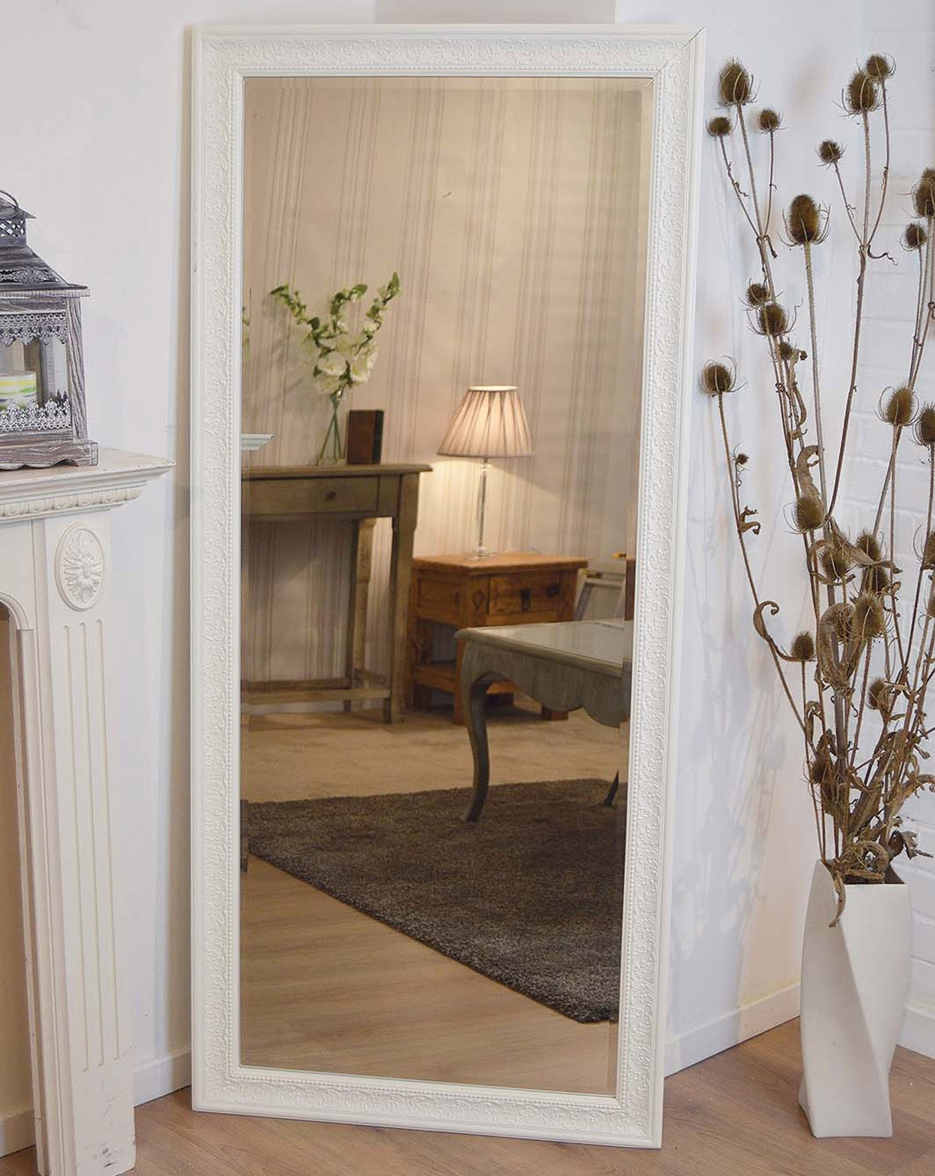 Large Antique Design Full Length Cream Wall Mirror 5ft3 X 2ft5 Inside Large Cream Mirror (View 4 of 15)