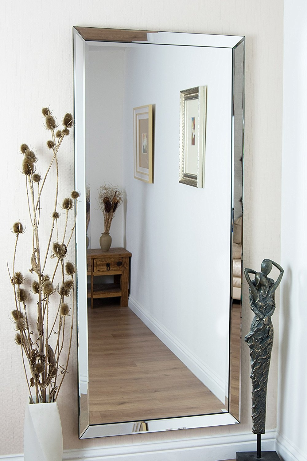 Large Antique Design Full Length Silver Wall Mirror 5ft3 X 2ft5 In Long Silver Mirror (Image 7 of 15)