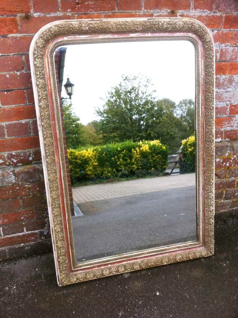 Large Antique Distressed Arched Top Mirror Antique Landscape Within Antiqued Mirrors For Sale (Image 11 of 15)