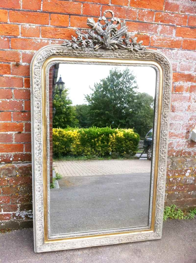 Large Antique French Carved Wood Gesso Mirror Antique All Our With Large French Mirrors (Image 11 of 15)