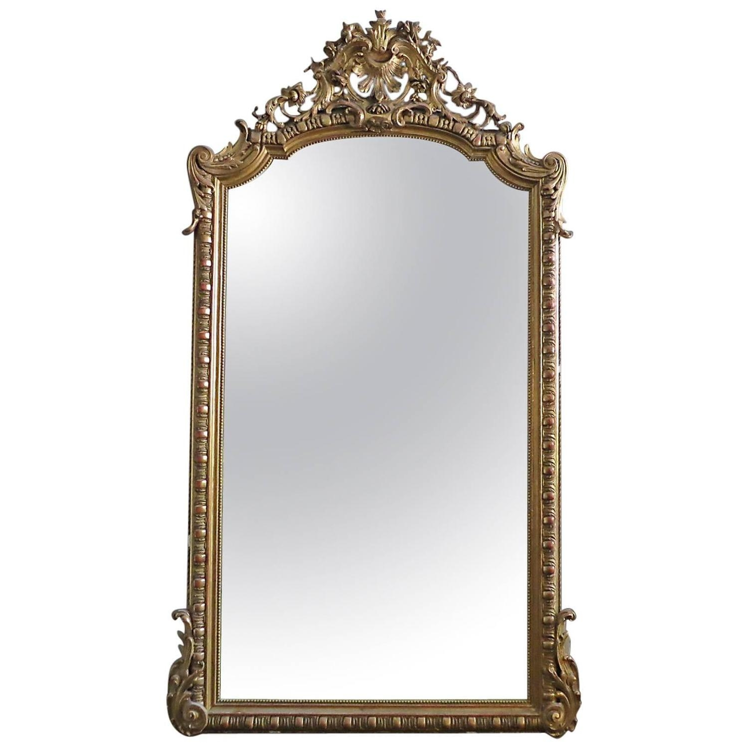 Large Antique French Gold Gilt Mirror At 1stdibs In Gilded Mirrors For Sale (Image 12 of 15)