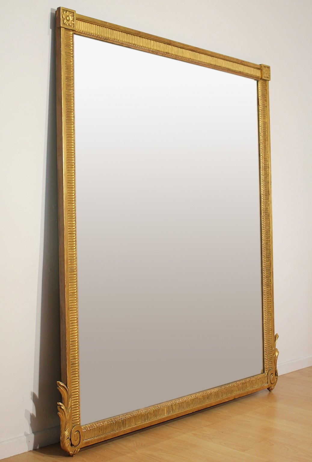 Large Antique French Neoclassical Decorative Gold Framed Mirror At Pertaining To French Gold Mirror (Image 11 of 15)
