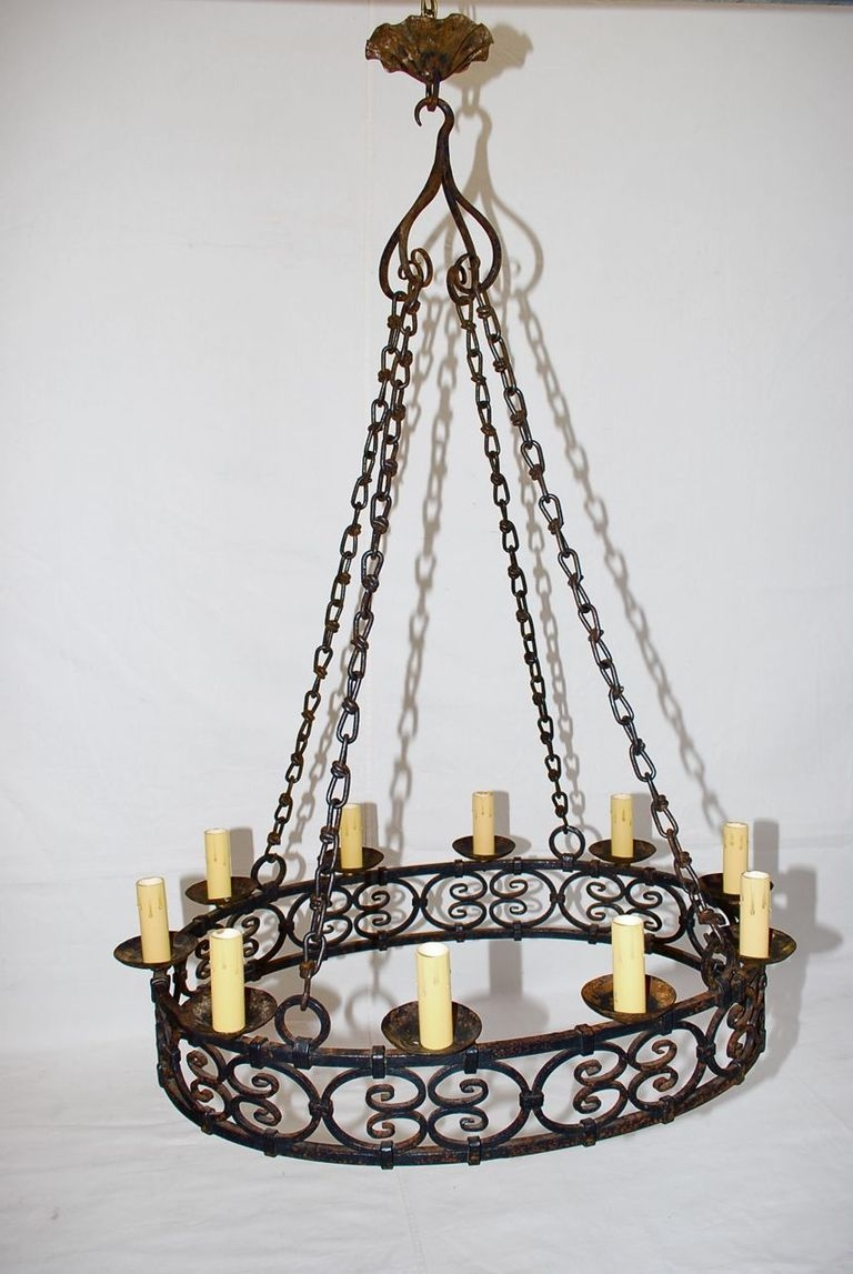 Large Antique French Wrought Iron Chandelier At 1stdibs For Antique French Chandeliers (Image 12 of 15)