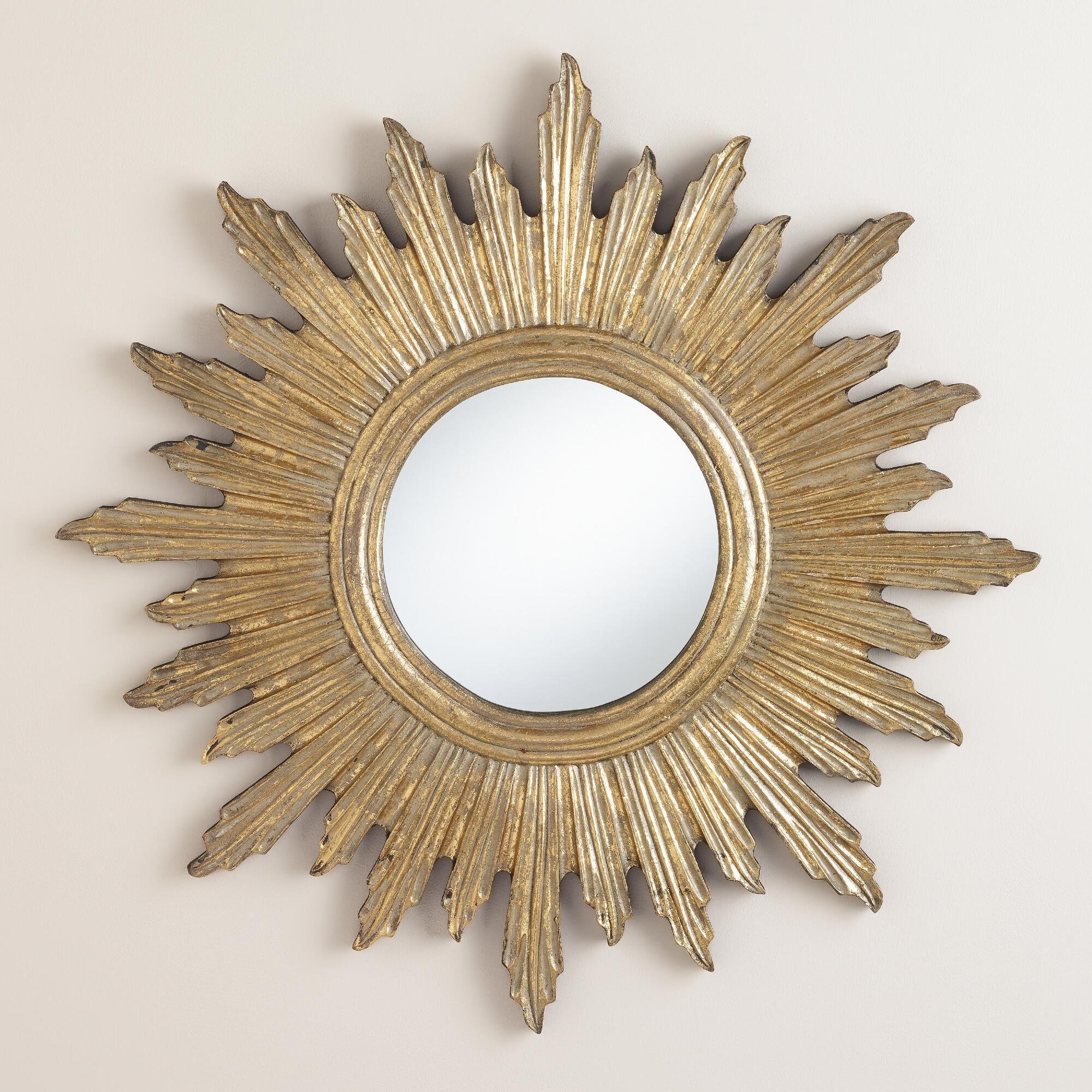 Large Antique Gold Leila Sunburst Mirror In India Partition With Large Sunburst Mirrors For Sale (Image 4 of 15)