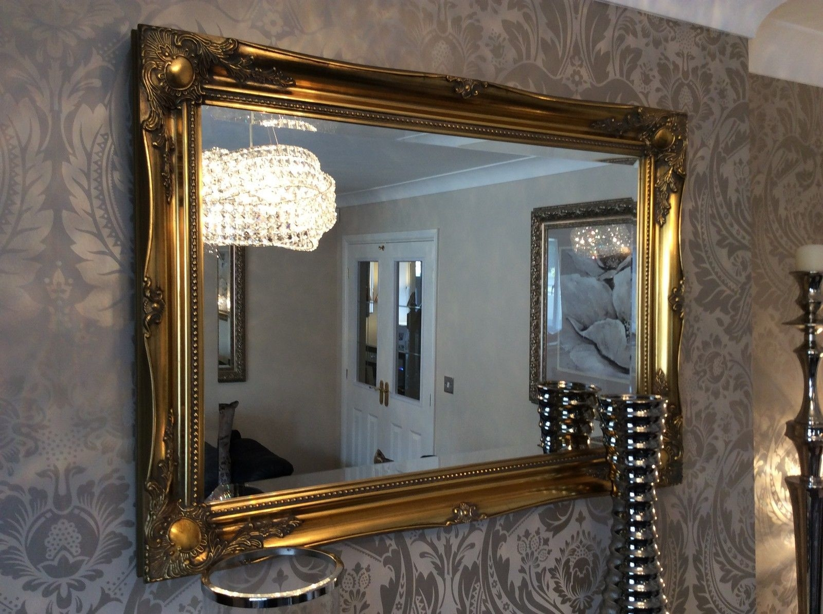 Large Antique Gold Mirror Intended For Gold Mantle Mirror (Image 8 of 15)