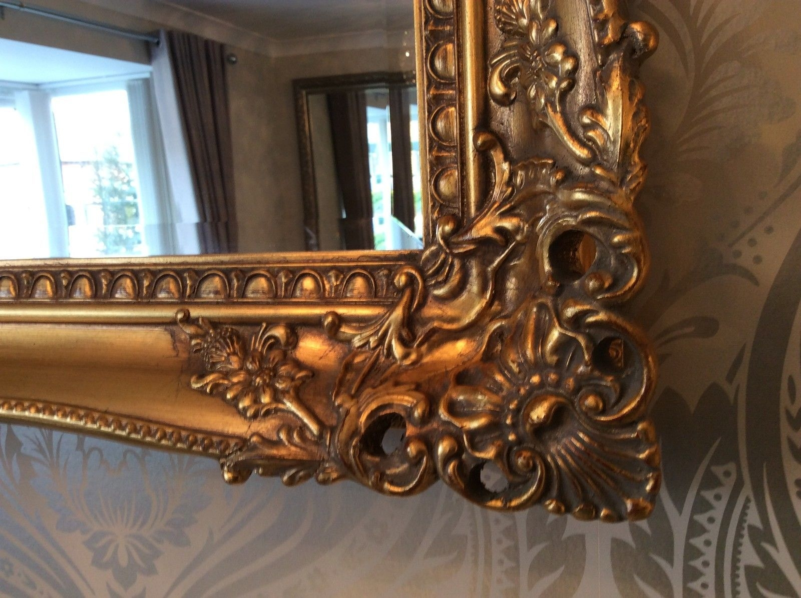Large Antique Gold Shab Chic Ornate Decorative Wall Mirror Free Inside Large Antique Gold Mirror (Image 7 of 15)