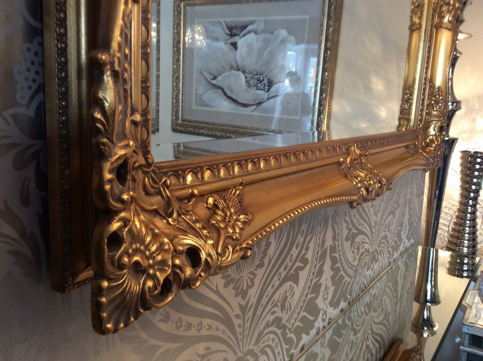 Large Antique Gold Shab Chic Ornate Decorative Wall Mirror Free Regarding Large Antique Gold Mirror (Image 8 of 15)
