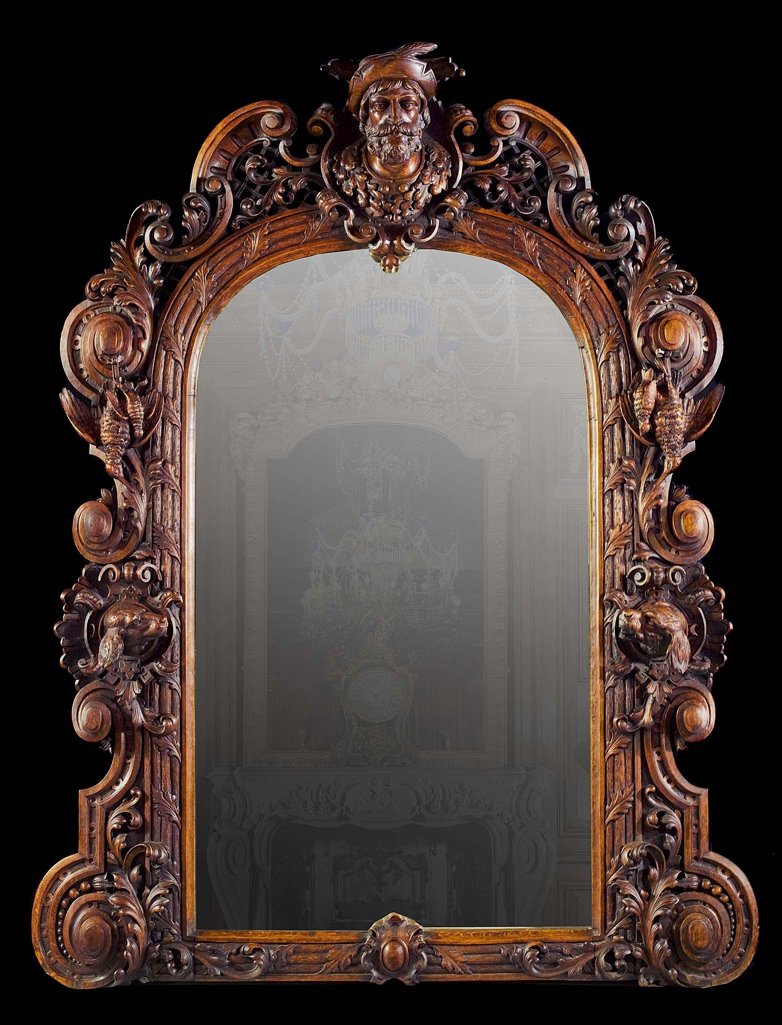 Large Antique Italian Carved Oak Mirror For A Hunting Lodge In Regarding Old Fashioned Mirrors (Image 10 of 15)