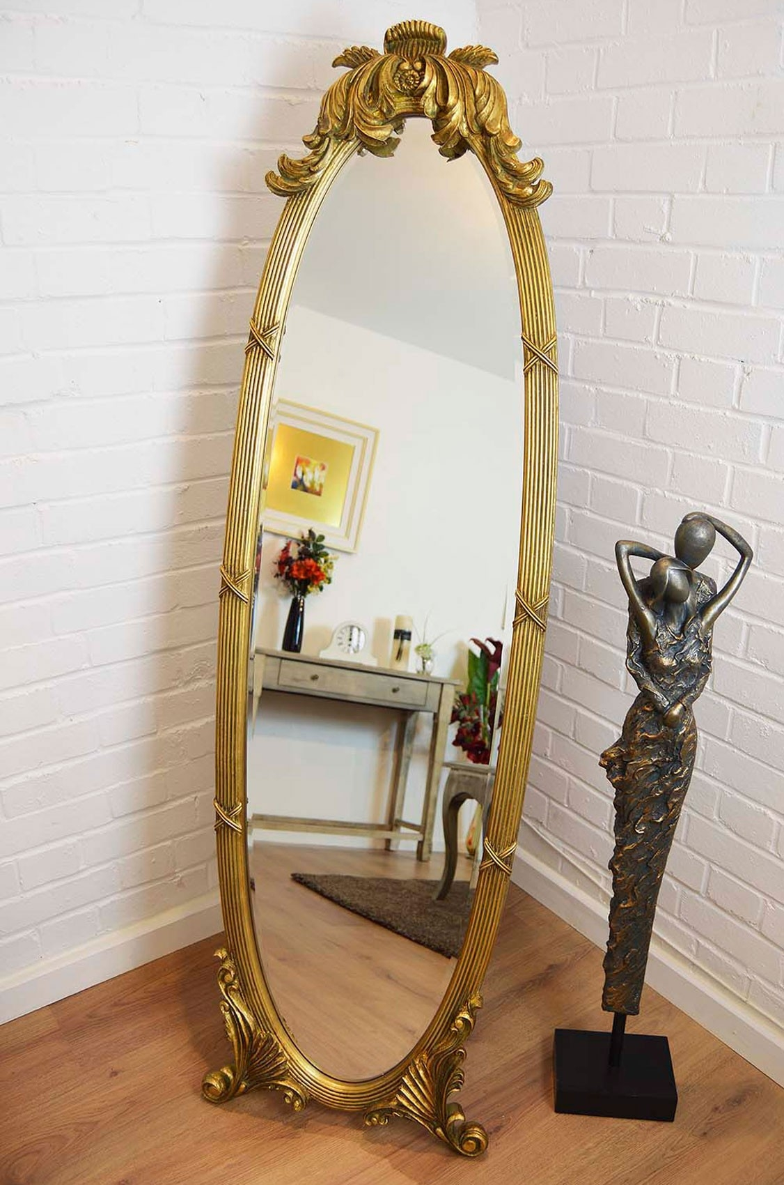 Large Antique Ornate Gold Oval Freestandingcheval Mirror 5ft5 X In Free Standing Antique Mirror (Photo 12 of 15)