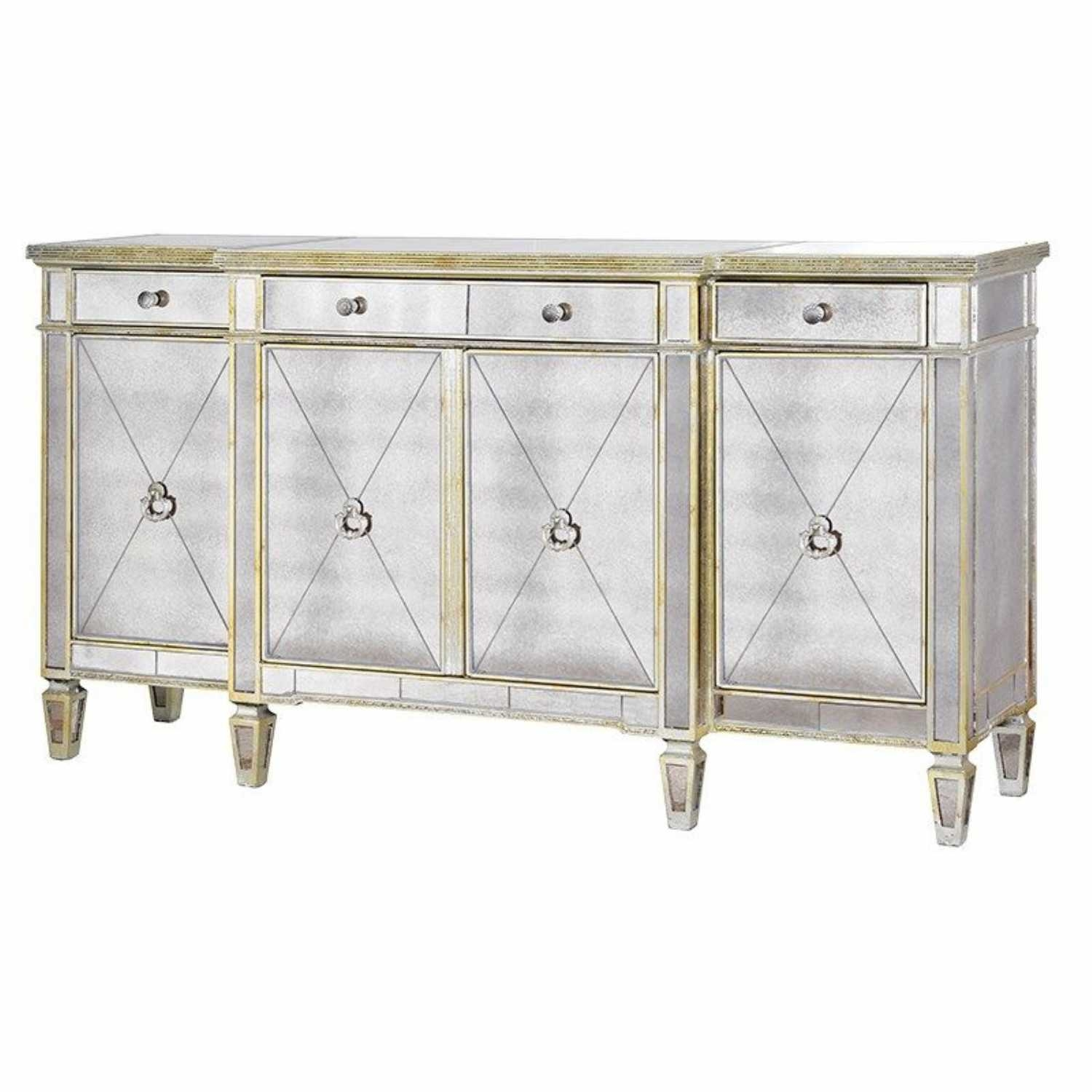 Large Antique Seville Venetian Mirrored Glass Sideboard 4 Door Intended For Venetian Mirrored Sideboard (Image 5 of 15)