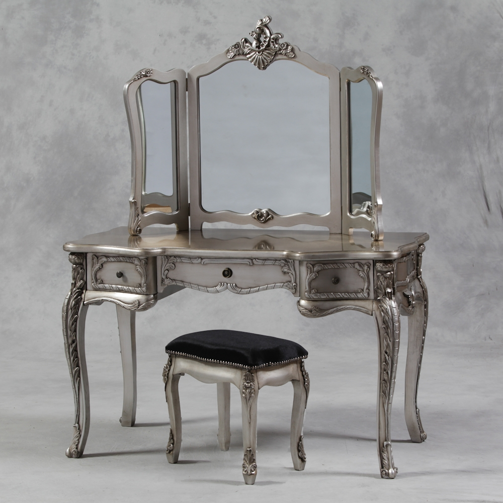 Large Antique Silver Leaf Dressing Table 3 Fold Mirror Set Within Silver Dressing Table Mirror (Image 7 of 15)