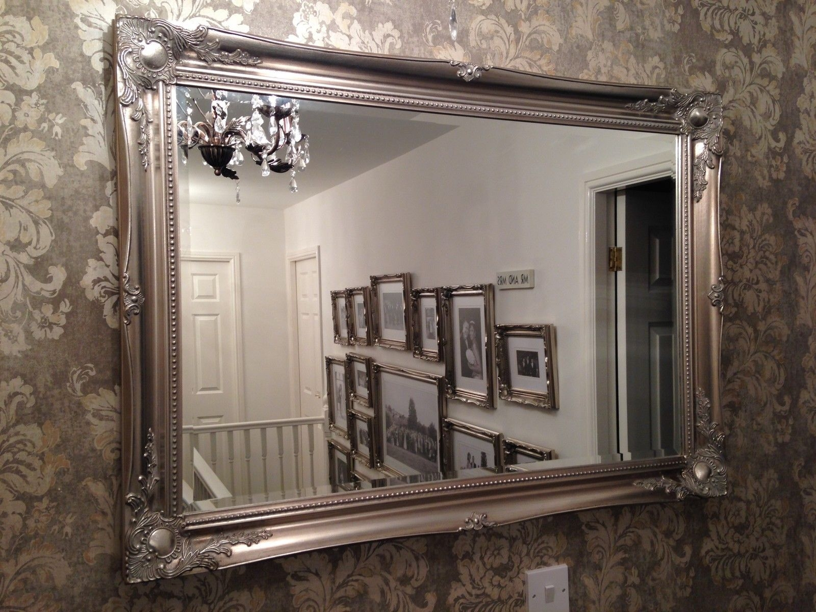Large Antique Silver Shab Chic Ornate Decorative Over Mantle Intended For Large Antique Silver Mirror (Image 8 of 15)