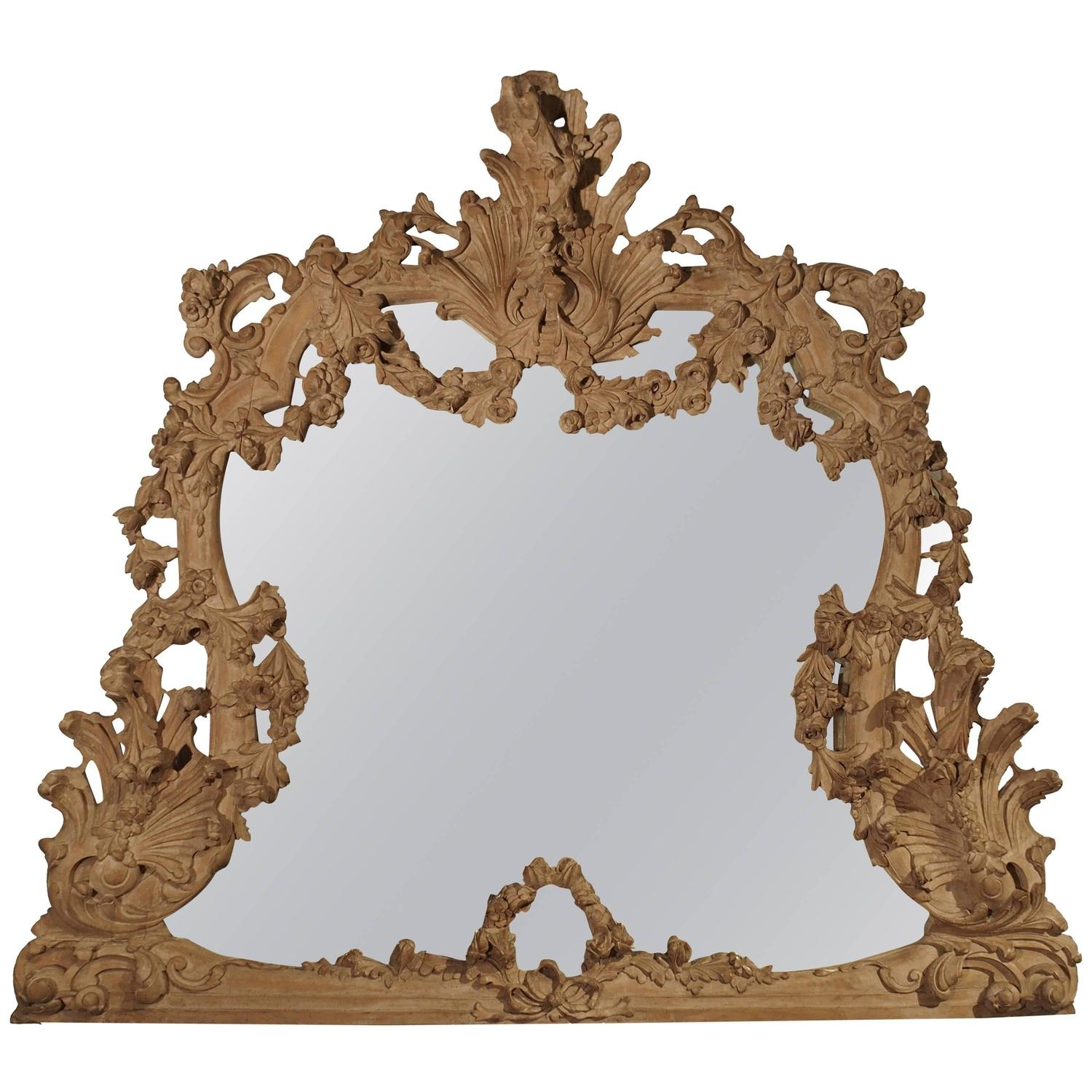 Large Antique Stripped Walnut Wood Rococo Style Mirror For Sale At Inside Large Antique Mirrors For Sale (Image 12 of 15)