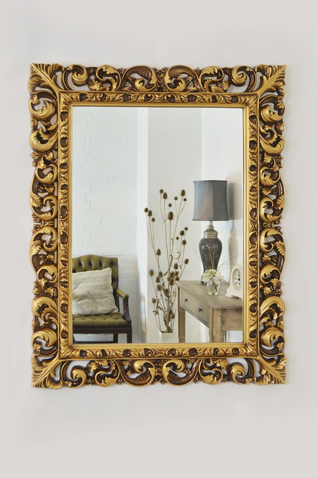 Large Antique Style Gold Carved Baroque Wall Mirror 3ft5 X 2ft8 With Regard To Baroque Gold Mirror (Image 13 of 15)