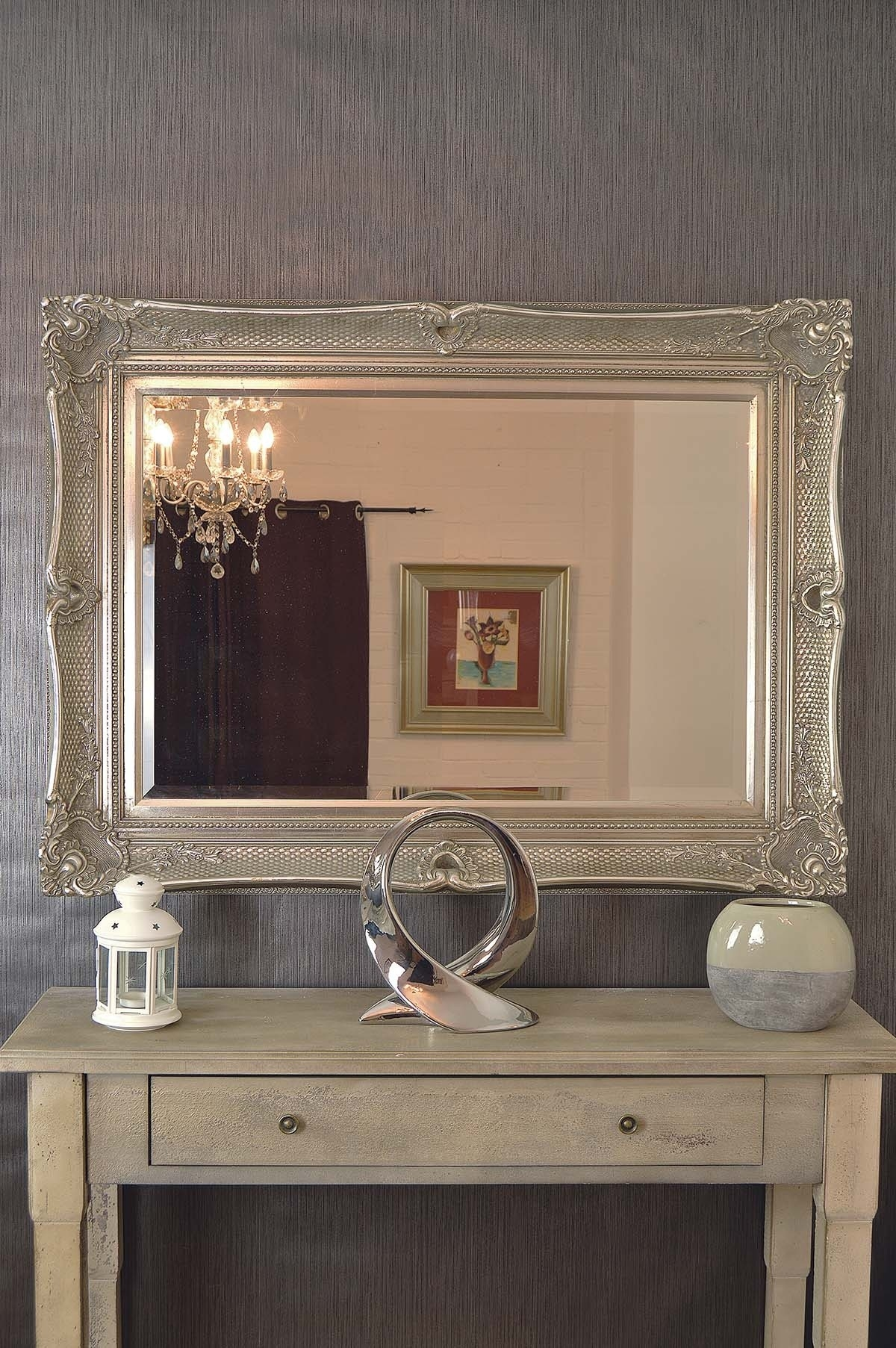 Large Antique Style Silver Ornate Wood Wall Mirror 4ftx3ft Throughout Large Ornate Mirrors For Wall (Image 6 of 15)