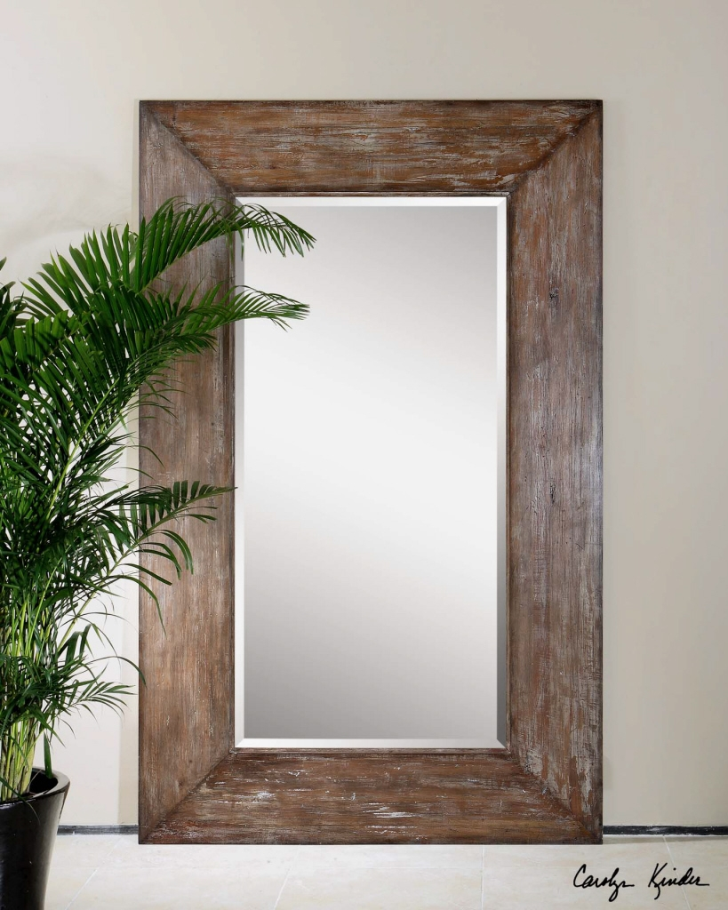 Large Antiqued Hickory Tone Beveled Wall Mirror Langford Um For Large Brown Mirror (Image 8 of 15)