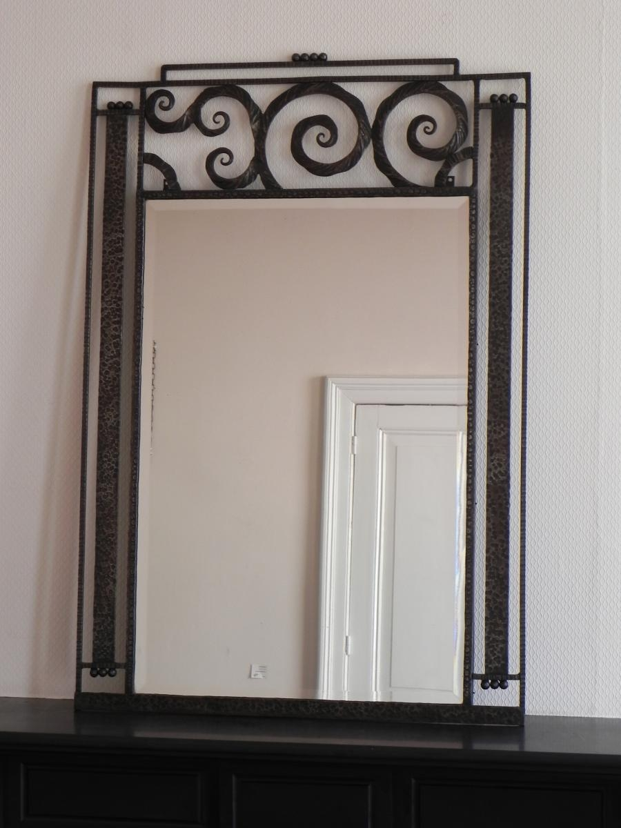 Large Art Deco Mirror With Steel Frame 1930s For Sale At Pamono Pertaining To Art Deco Mirrors For Sale (Image 12 of 15)