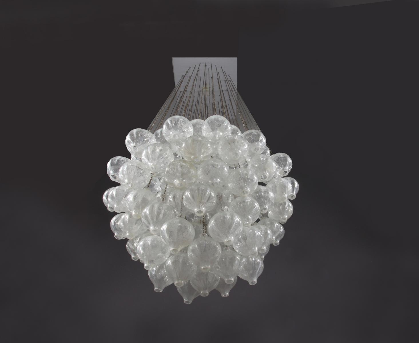 Large Austrian Tulipan Crystal Glass Chandelier From Kalmar 1960 Throughout Large Glass Chandelier (Image 4 of 15)