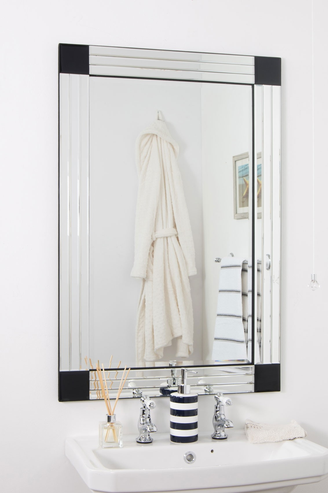 Large Bathroom Bevelled Triple Edge Venetian Mirror 3ft3 X 2ft3 For Large Bevelled Edge Mirror (Image 5 of 15)
