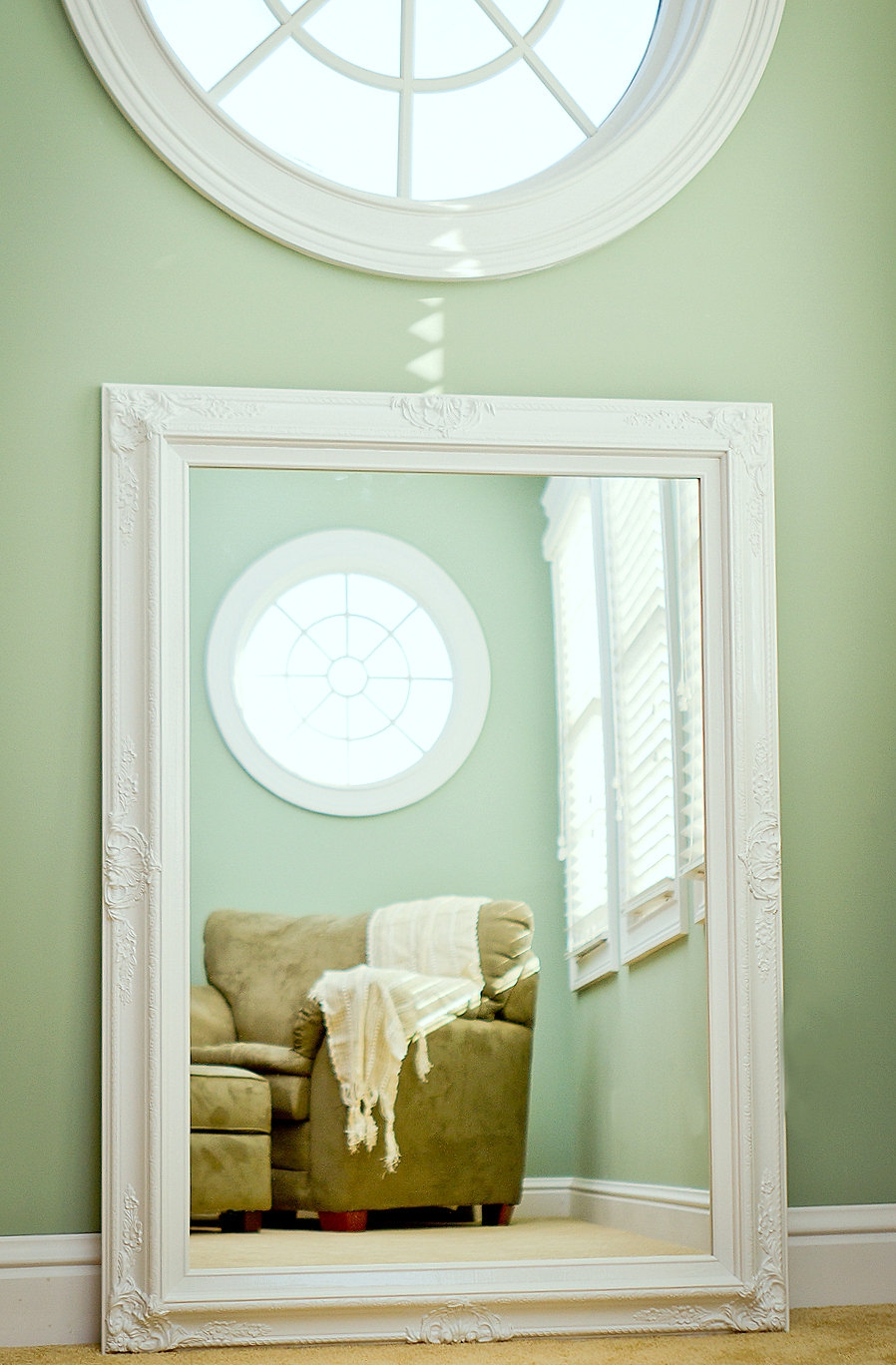 Large Bathroom Mirror Large Mantel Mirror 44×32 With White Shabby Chic Wall Mirror (Image 3 of 15)