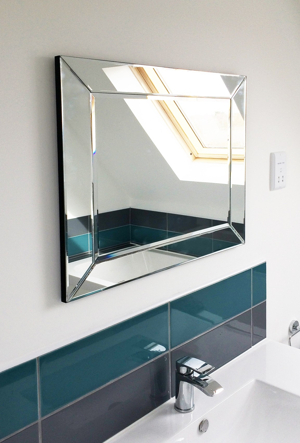 Large Bathroom Single Edge Venetian Bevelled Wall Mirror 2ft2 X Pertaining To Bevelled Wall Mirror (Image 7 of 15)