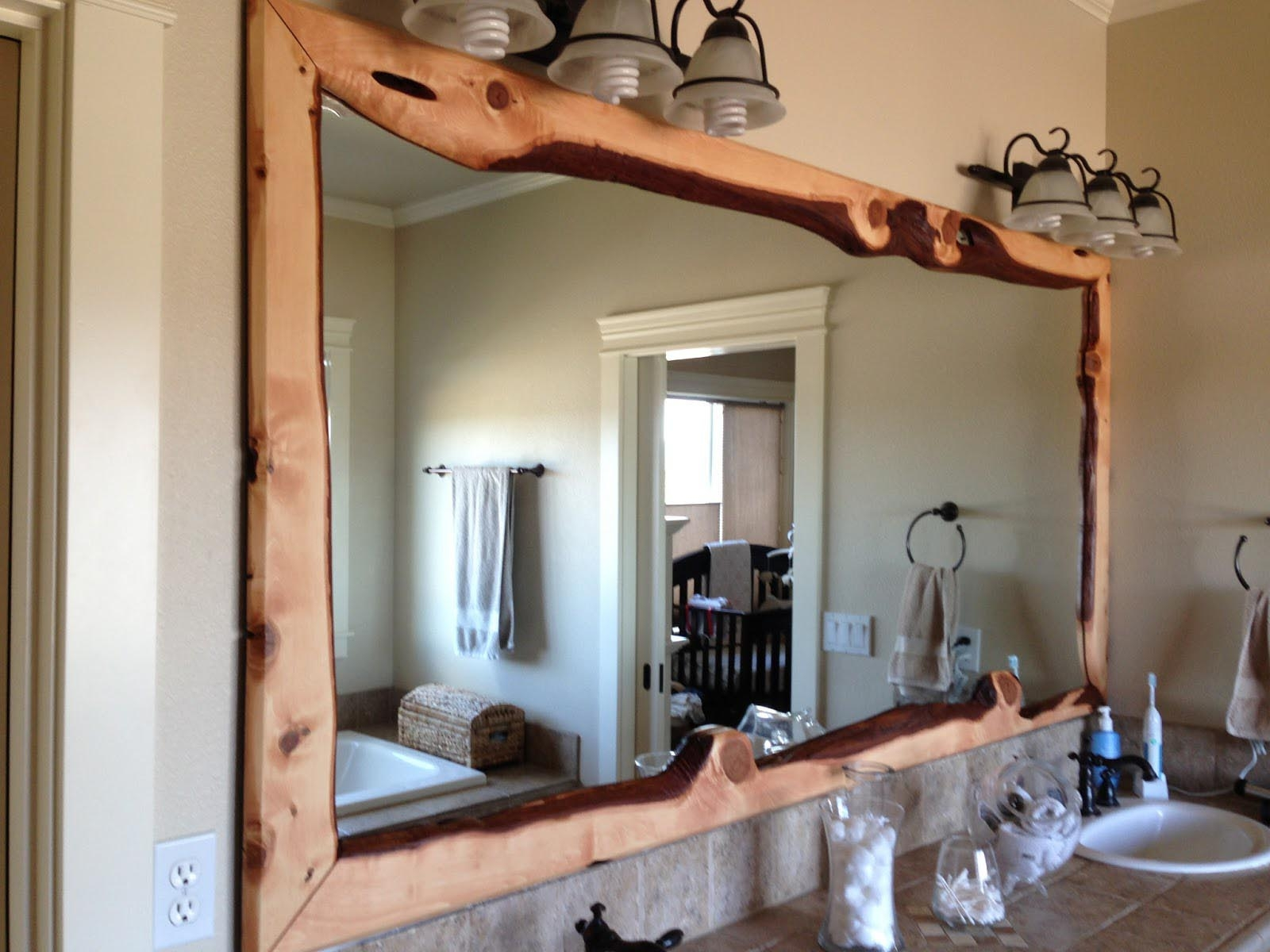 Large Bathroom Wall Mirror With Rustic Carbonized Pine Wood Frame Intended For Oak Framed Wall Mirrors (Image 4 of 15)