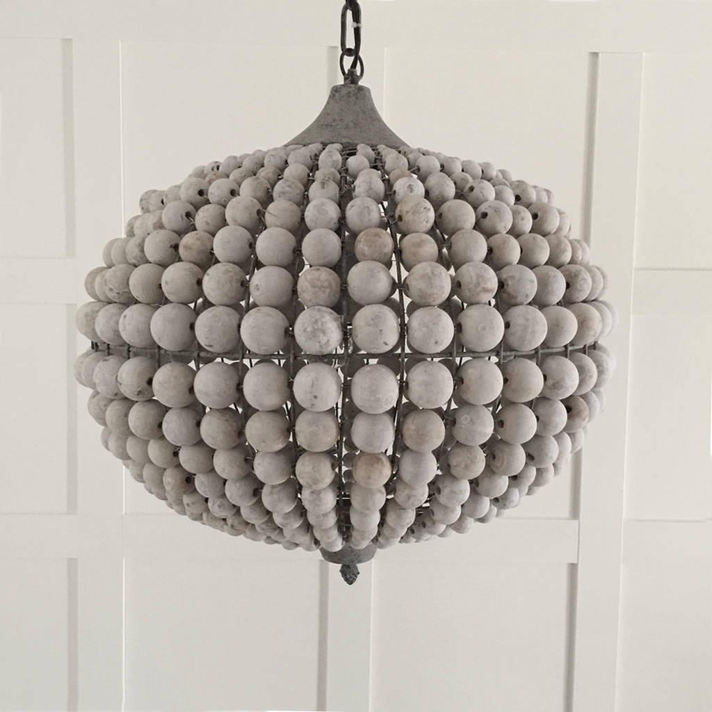 Large Beaded Wood Ball Globe Chandelier Cowshed Interiors Intended For Large Globe Chandelier (Image 10 of 15)
