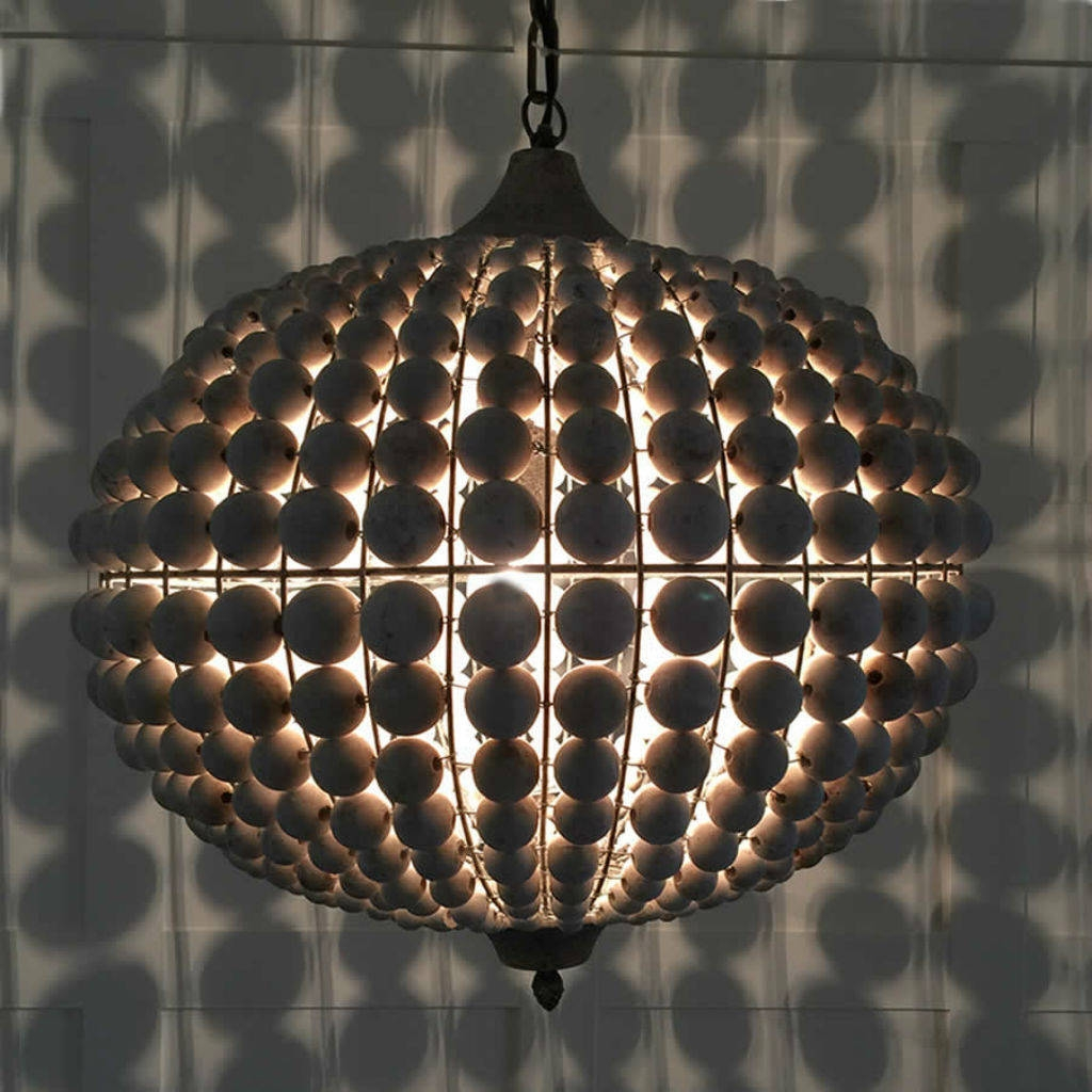 Large Beaded Wood Ball Globe Chandelier Cowshed Interiors With Regard To Large Globe Chandelier (Image 11 of 15)