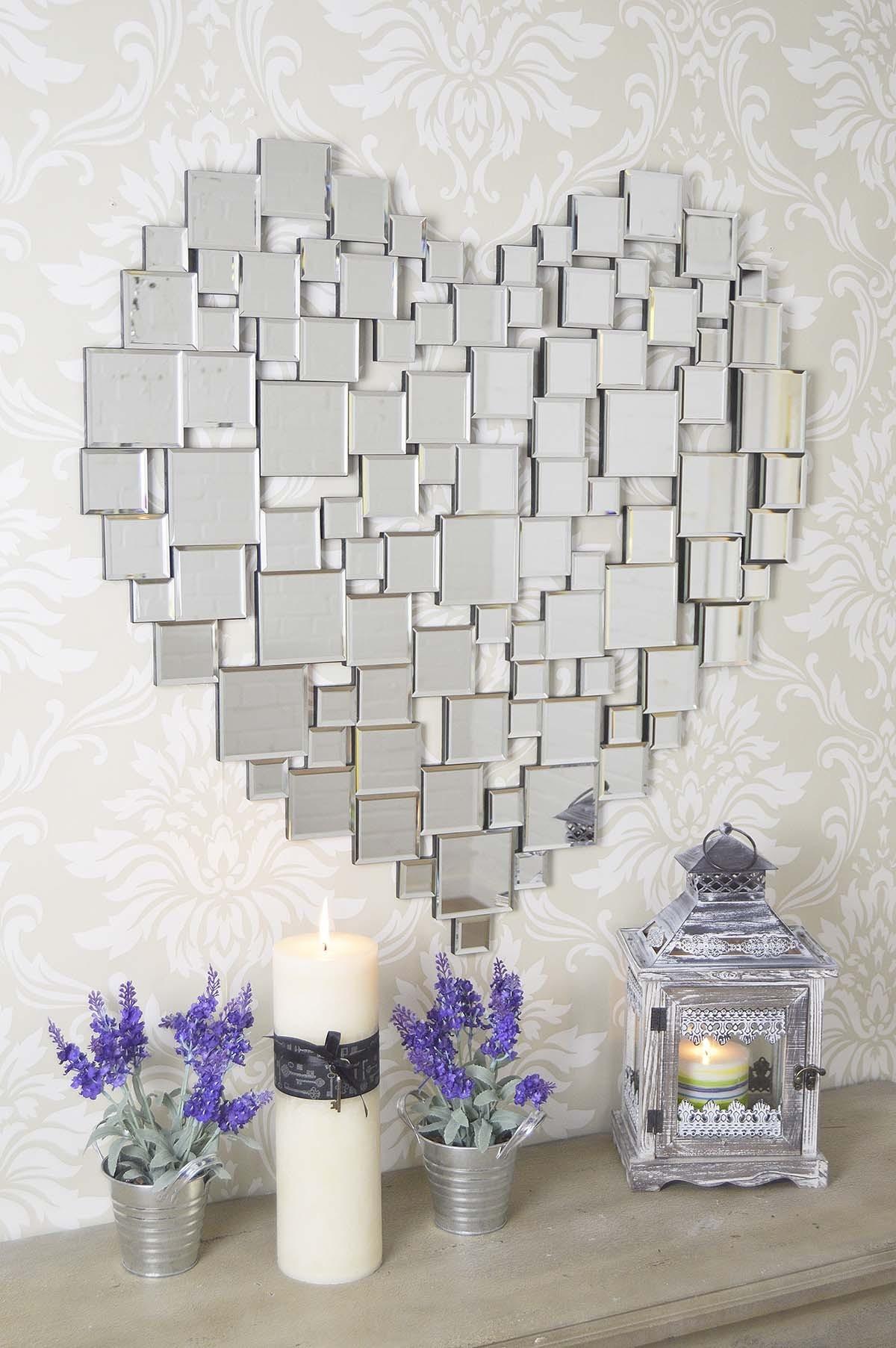 Large Beautiful Modern Heart Shape Venetian Wall Mirror 2ft8 80cm Regarding Heart Venetian Mirror (Image 8 of 15)
