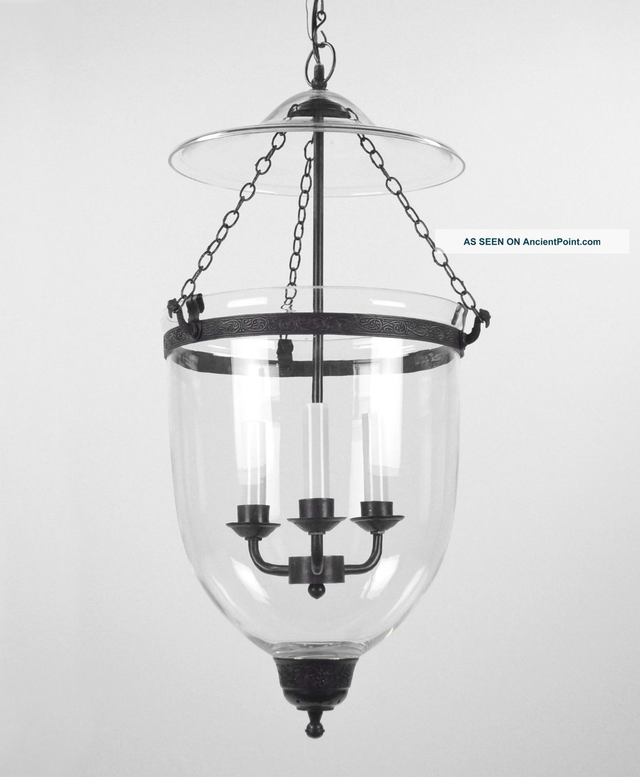 Large Bell Jar Light Chandelier Pendant Lantern Glass Colonial Old With Antique Style Chandeliers (Image 9 of 15)