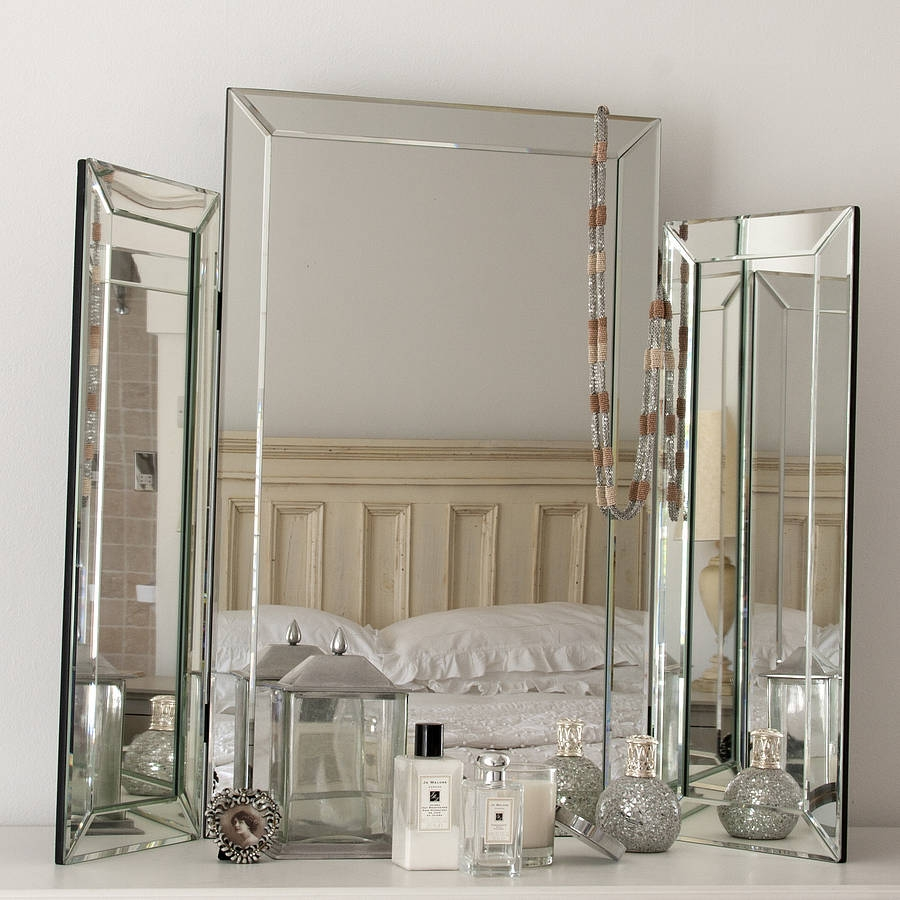 Large Bevelled Dressing Table Triple Mirror Decorative Mirrors Regarding Venetian Table Mirror (Image 6 of 15)