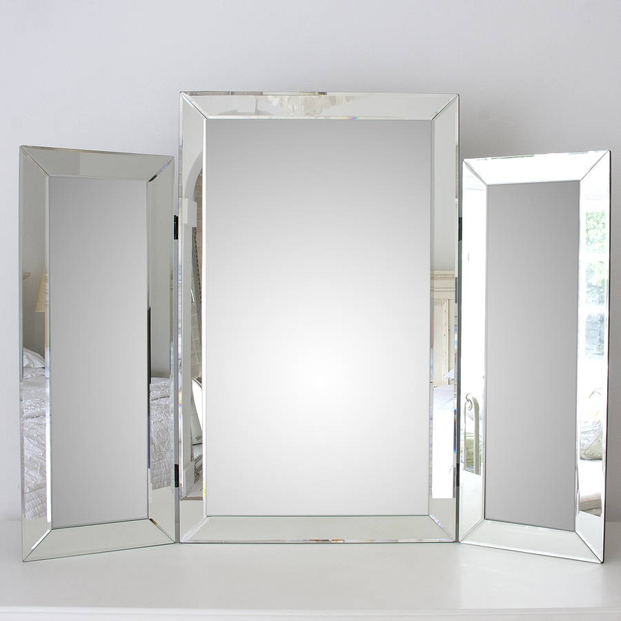 Large Bevelled Dressing Table Triple Mirror Decorative Mirrors With Venetian Table Mirror (Image 7 of 15)