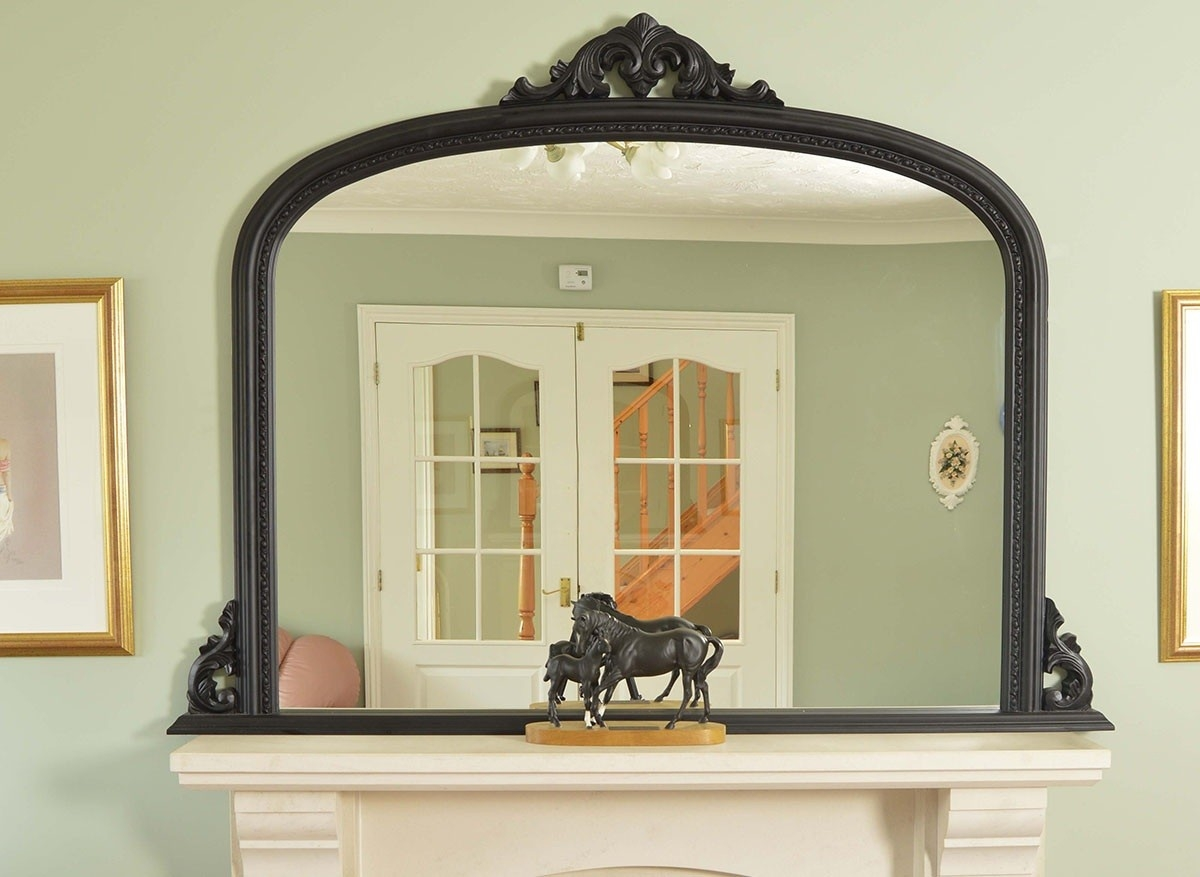 Large Black Decorative Antique Arched Overmantle Mirror 4ft10 X 3ft8 With Regard To Over Mantle Mirror (Image 9 of 15)
