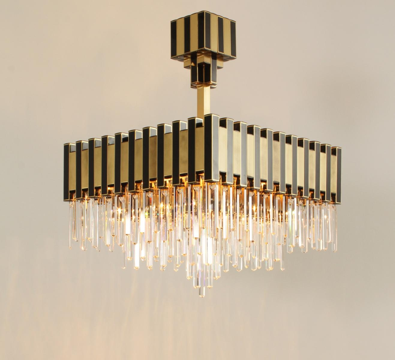 Large Black Gold Chandelier From Lumica 1970s For Sale At Pamono Throughout Large Black Chandelier (Photo 6 of 15)