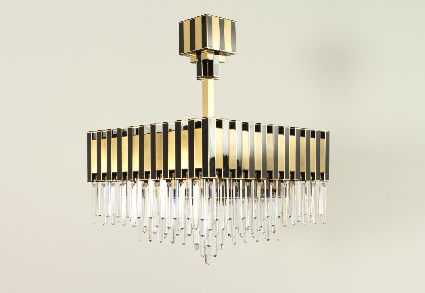 Large Black Gold Chandelier From Lumica 1970s For Sale At Pamono Within Large Black Chandelier (Image 10 of 15)