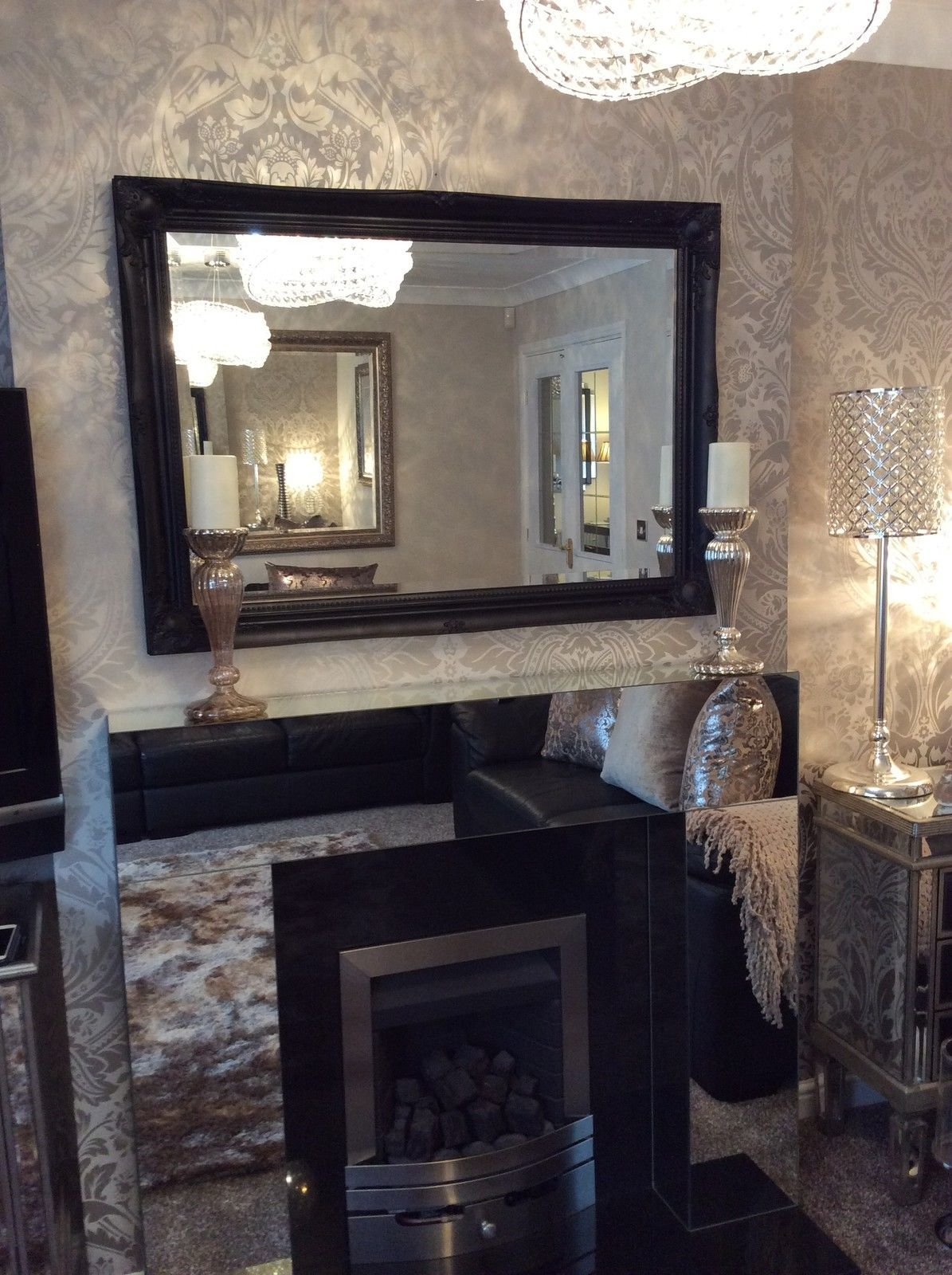 Large Black Shab Chic Bevelled Wall Mirror 36inch X 26inch Intended For Black Bevelled Mirror (Image 7 of 15)