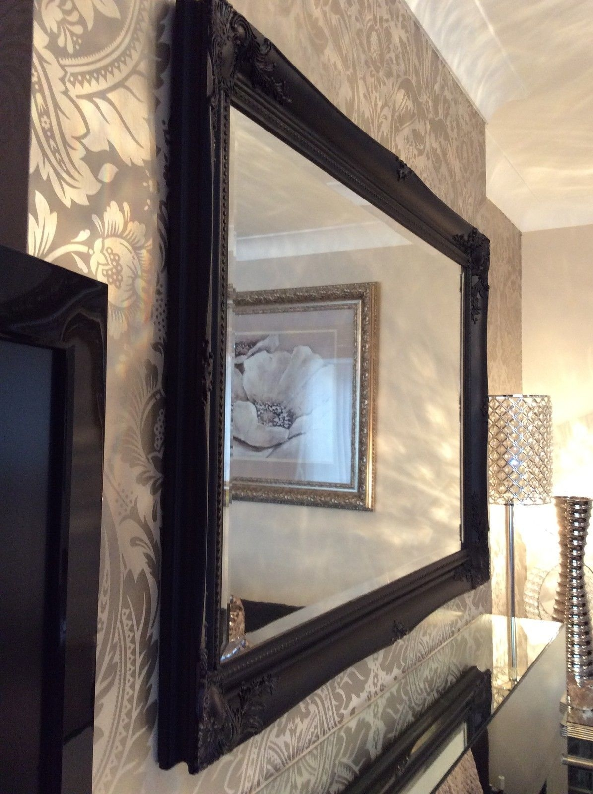 Large Black Shab Chic Bevelled Wall Mirror 36inch X 26inch Throughout Black Bevelled Mirror (Image 8 of 15)