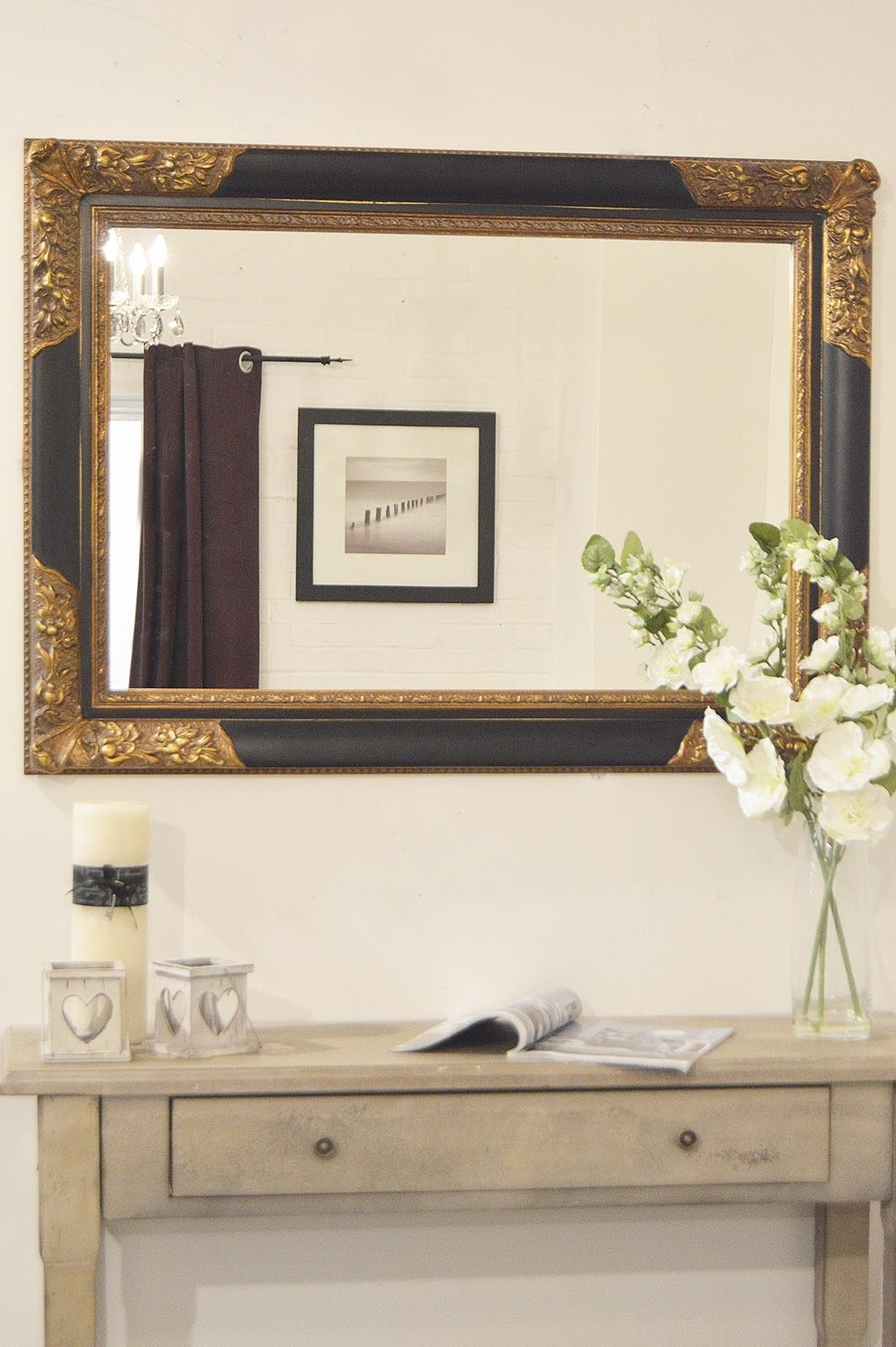 Large Blackgold Antique Style Wood Rectangle Wall Mirror 3ft8 X With Regard To Black Large Mirror (Image 12 of 15)