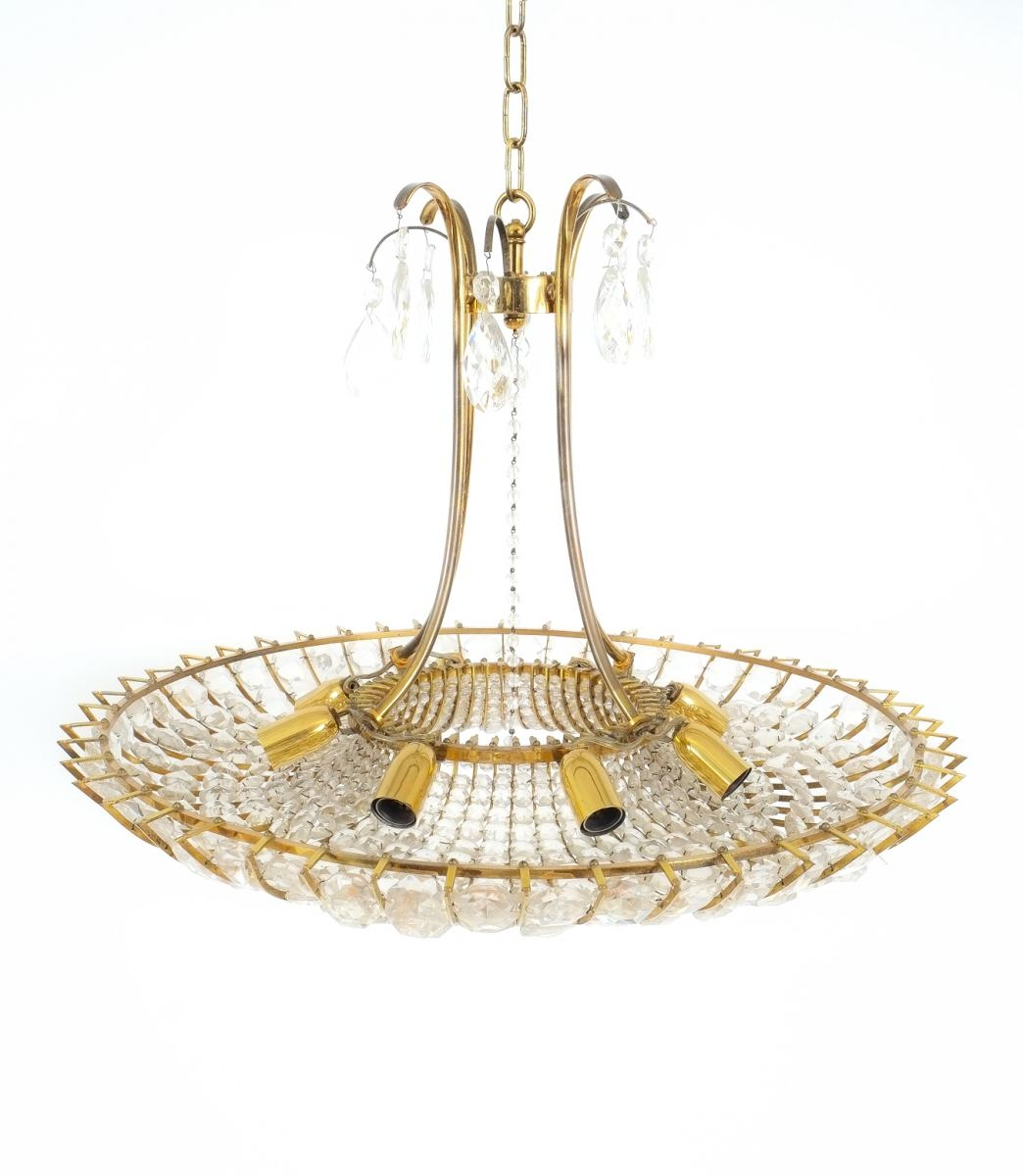 Large Brass Glass Chandelier 1960s For Sale At Pamono Inside Brass And Glass Chandelier (Image 4 of 15)