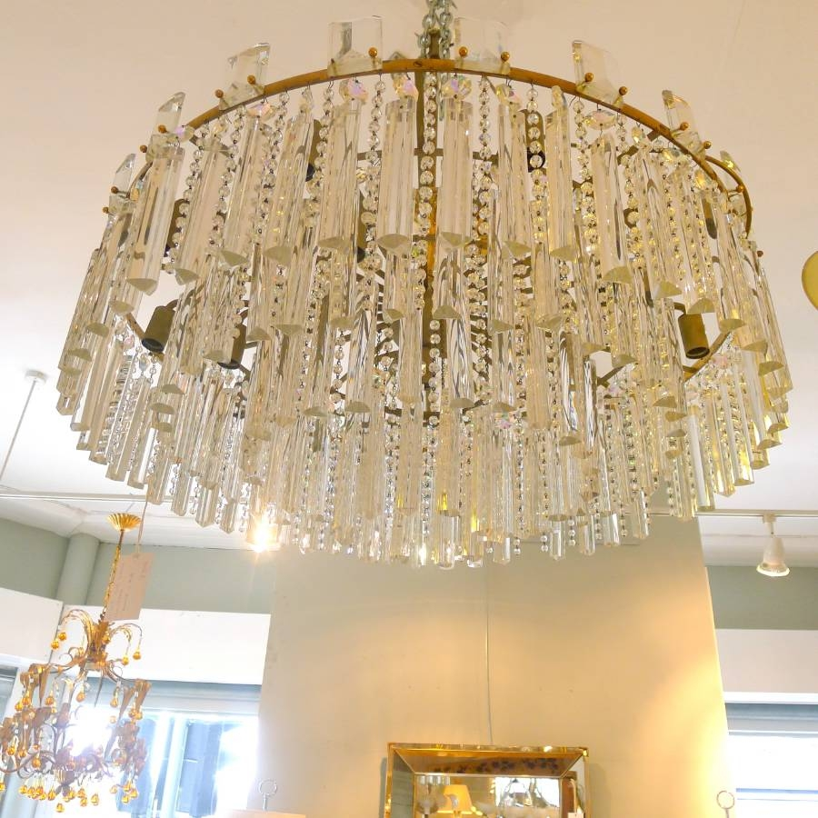 Large Bronze And Crystal Chandelier C 1950 In From Circus Antiques Inside Large Bronze Chandelier (Image 7 of 15)