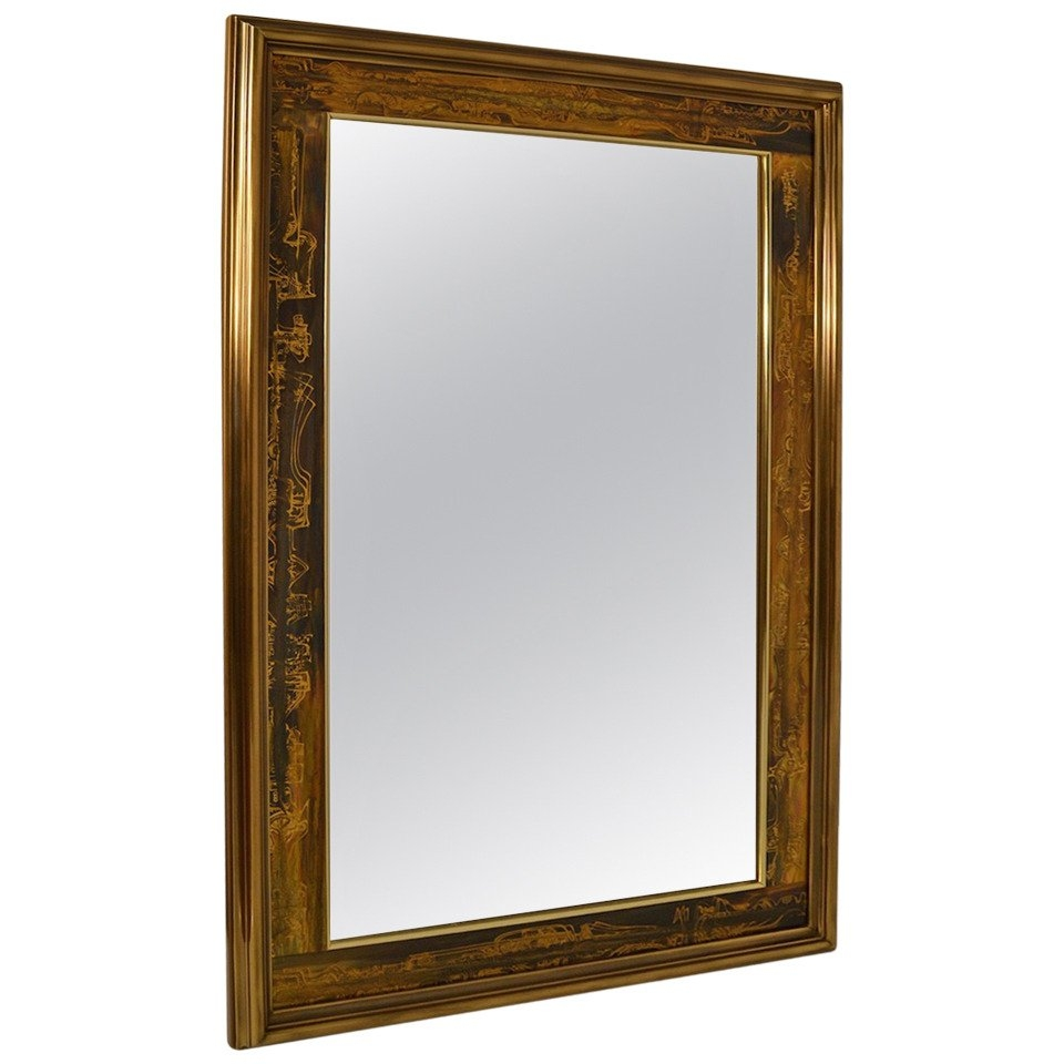 Large Brutalist Acid Wash Mastercraft Gold Bronze Frame Beveled Throughout Large Bronze Mirror (Image 8 of 15)