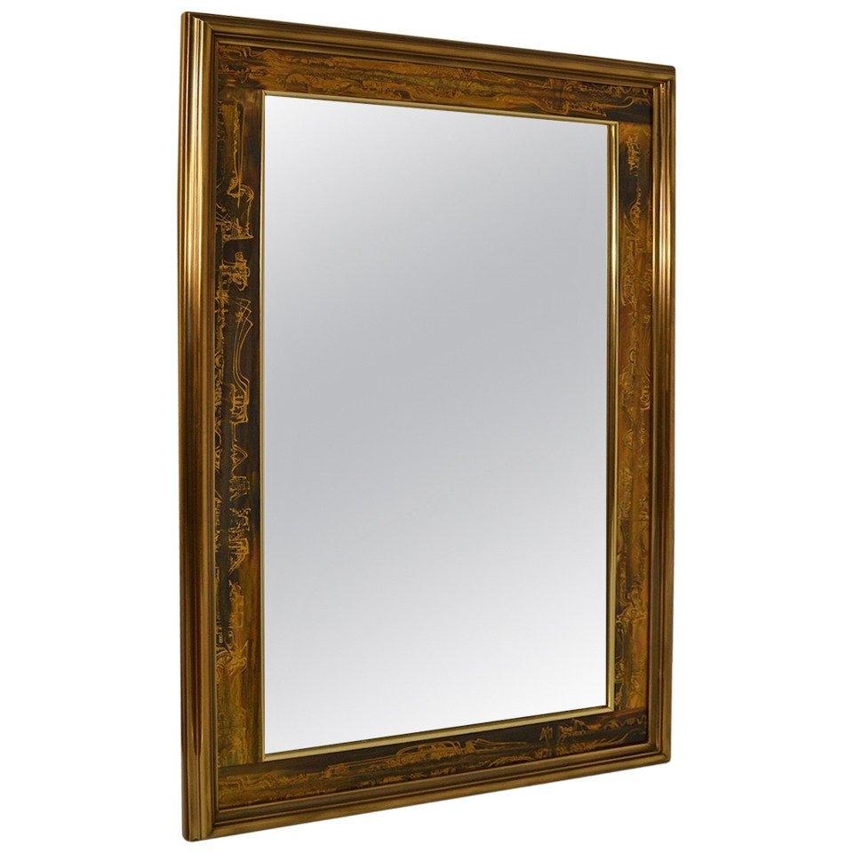 Large Brutalist Acid Wash Mastercraft Gold Bronze Frame Beveled Throughout Large Bronze Mirror (View 10 of 15)