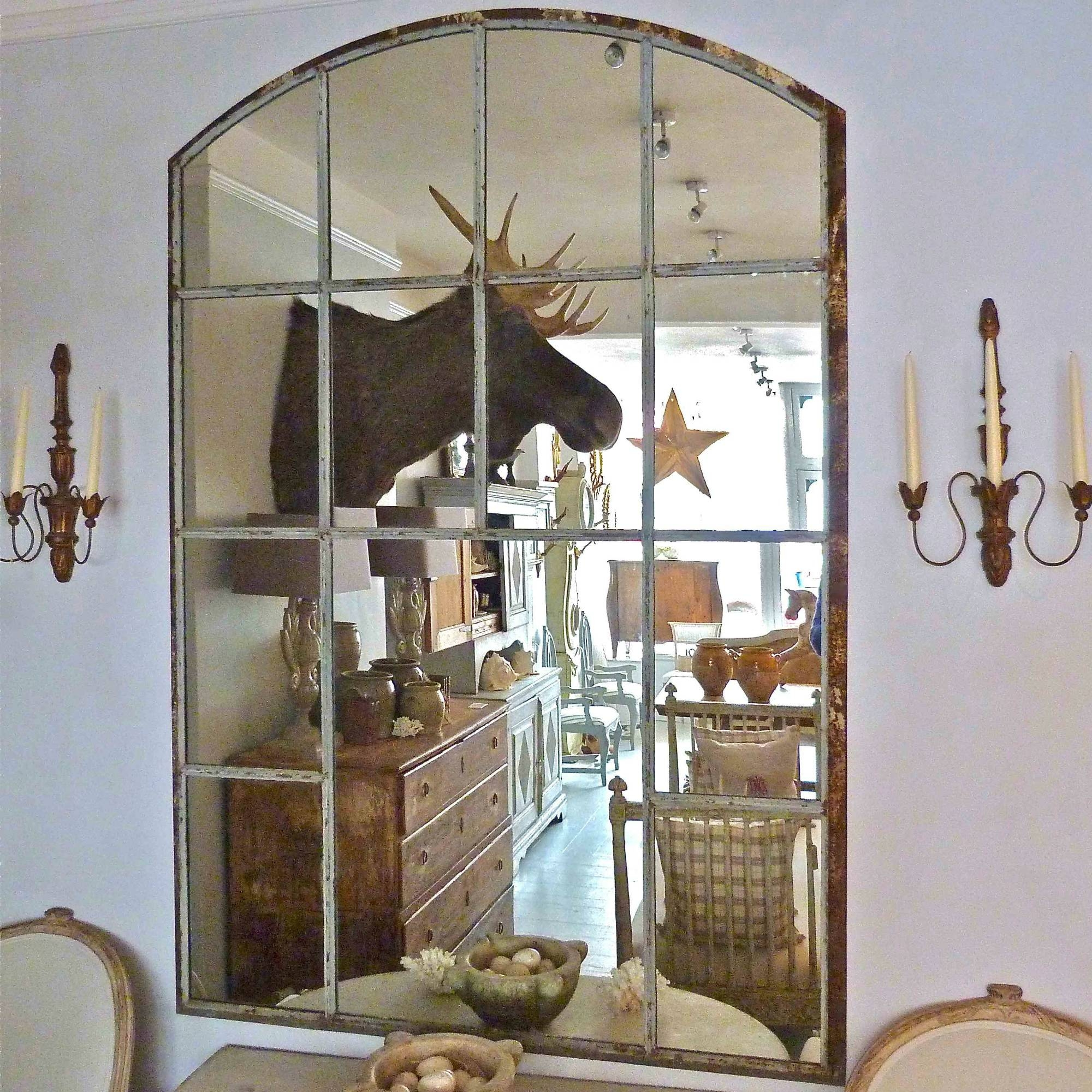 Large Cast Iron Slow Arched Window Frame Mirror In From Georgia Lacey Inside Large Arched Mirror (Image 9 of 15)