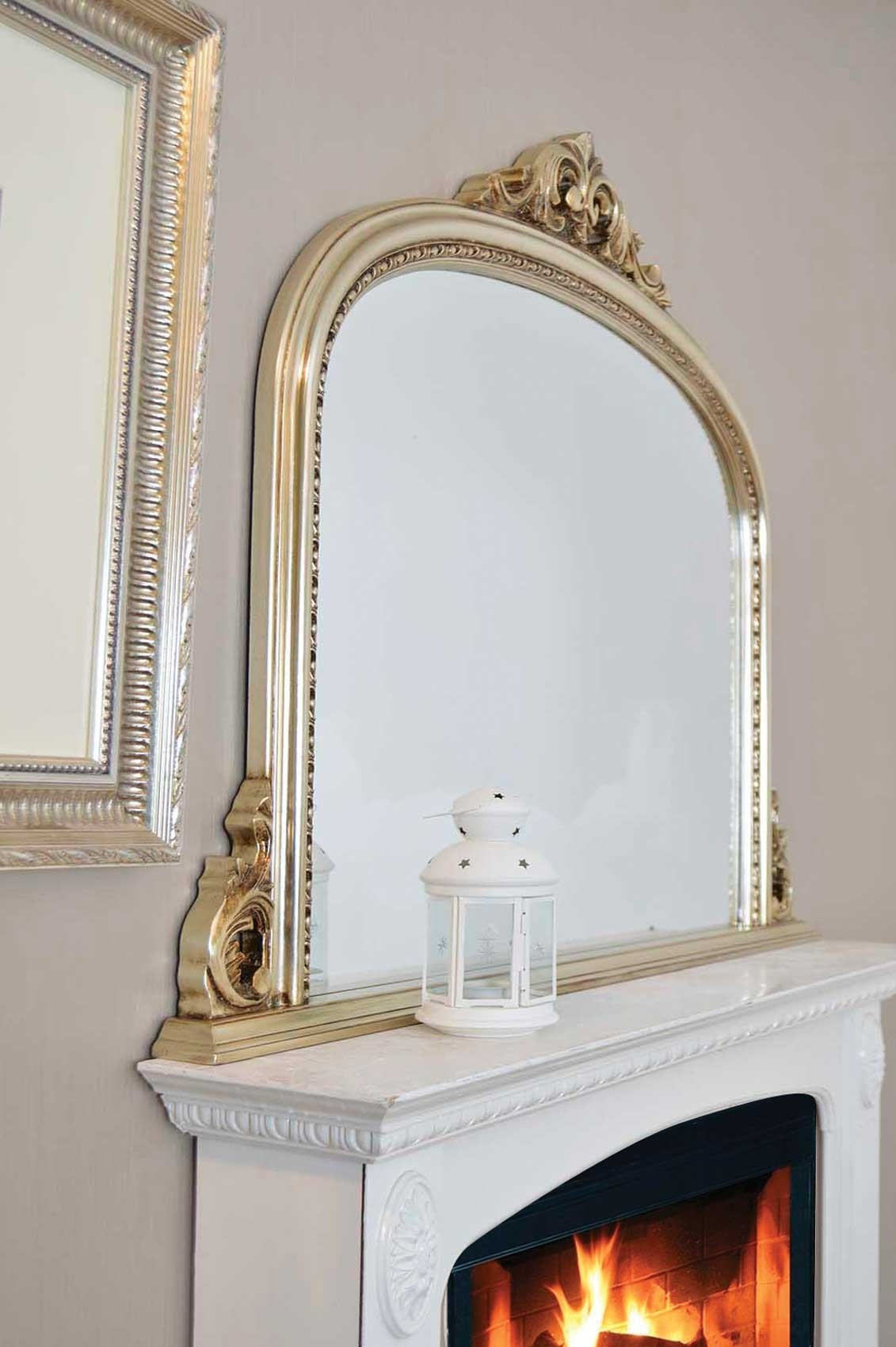 Large Champagne Silver Antique Over Mantle Wall Mirror 4ft2 X 3ft Within Over Mantle Mirror (Image 10 of 15)