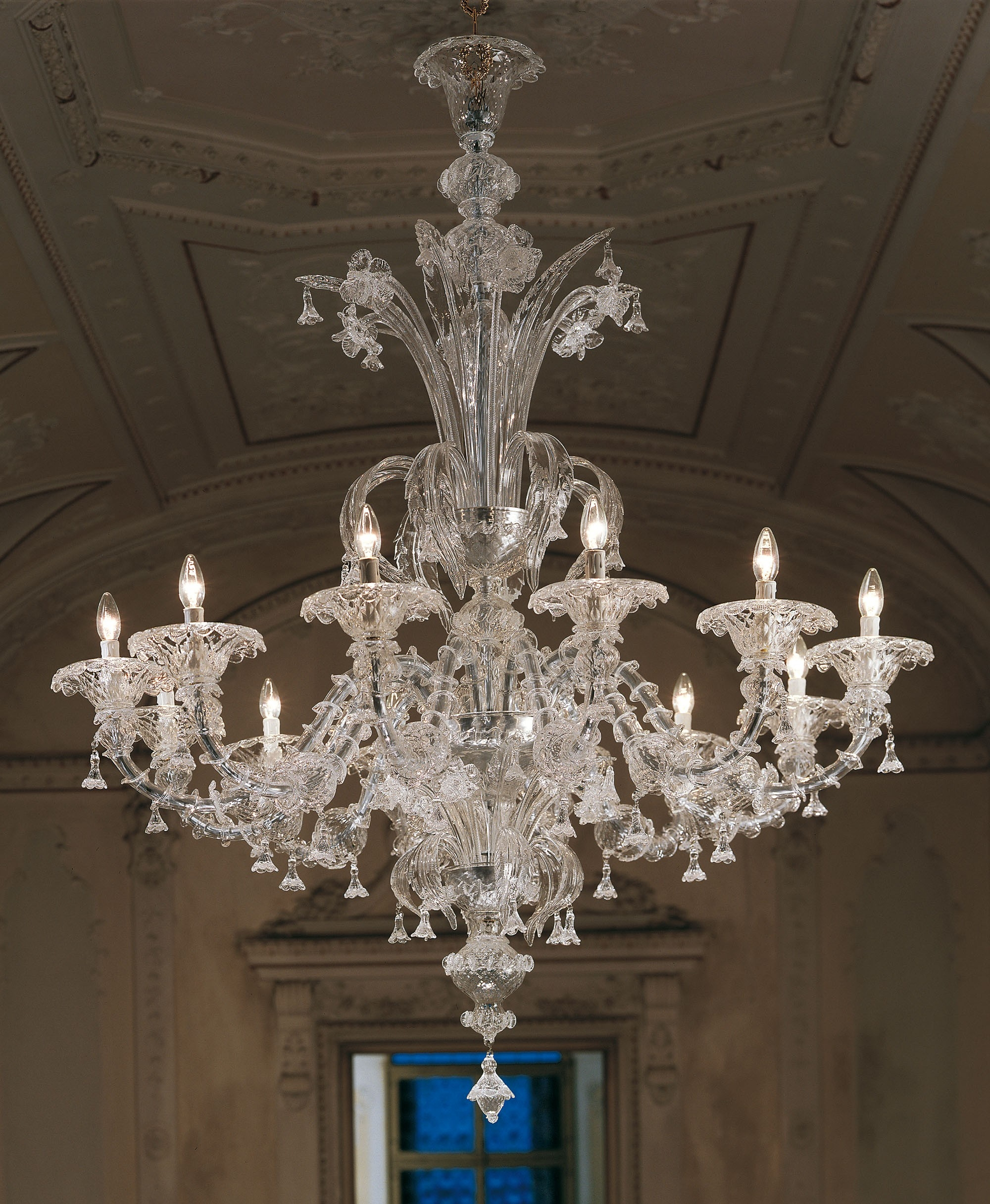 Large Clear Rezzonico Murano Chandelier L7099k12 For Murano Chandelier (Image 8 of 15)